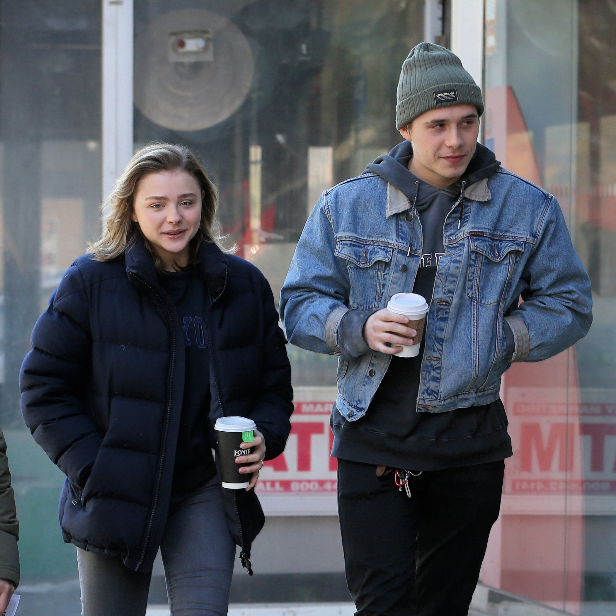 "Chloe Moretz grabs coffee with her boyfriend Brooklyn Beckham  between takes filming ""The Widow"" in New York City on Nov. 11, 2017."