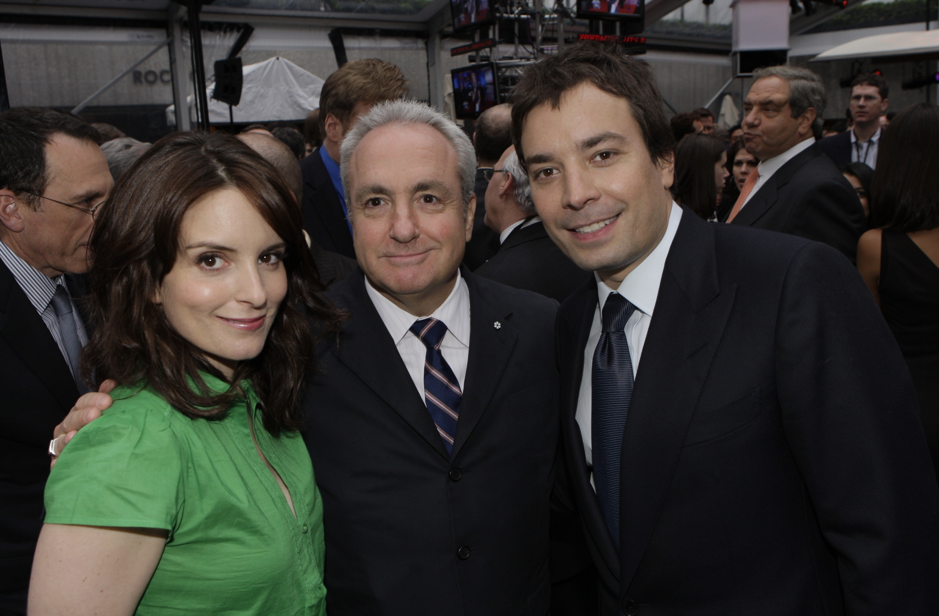 Tina Fey, Lorne Michaels and Jimmy Fallon attend the NBC Universal Experience party at Rockefeller Center in New York on May 12, 2008.