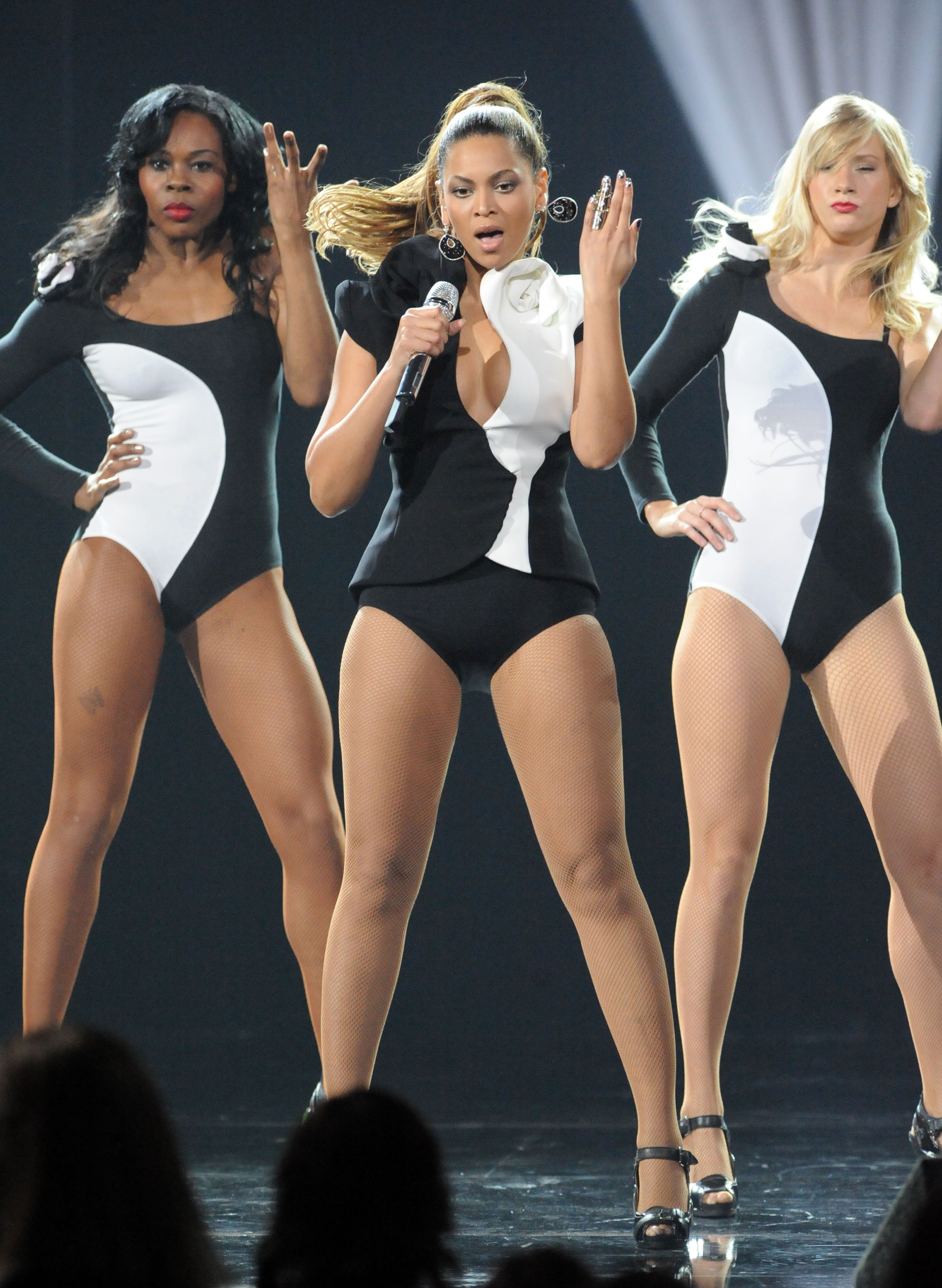 Beyonce Knowles performs onstage during the 2008 American Music Awards held at Nokia Theatre L.A. LIVE  in Los Angeles on Nov. 23, 2008.