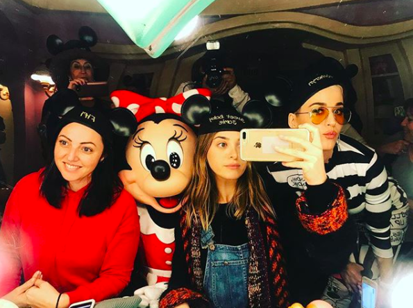 """""""Just us gals 🐭""""   Jamie Mizrahi, one of Katy Perry's gal pals, who posted this Instagram selfie with the pop star, Minnie Mouse and another friend, Sophia Rivka Rossi, on Nov. 14, 2017."""
