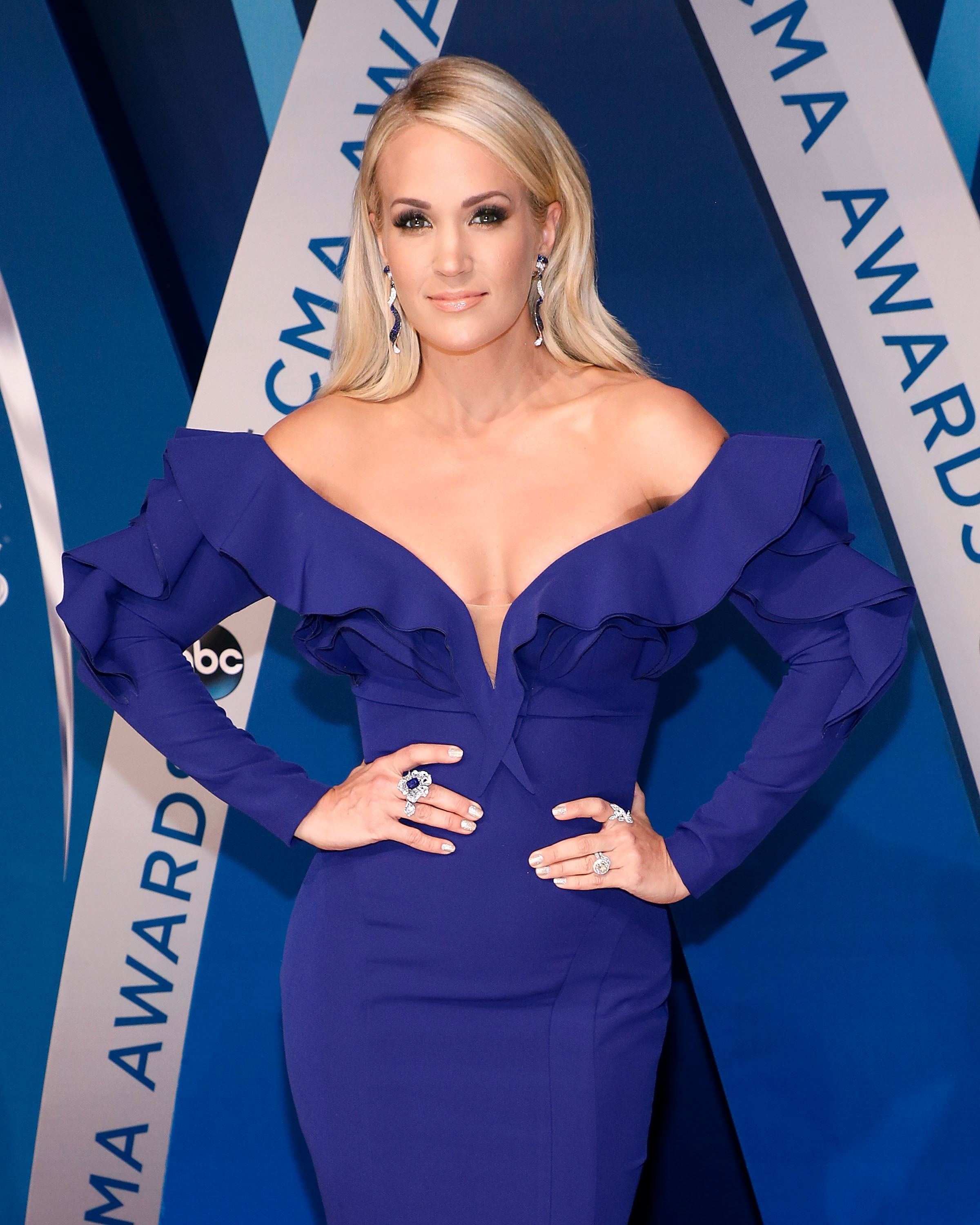 Carrie Underwood attends the 51st annual CMA Awards at the Bridgestone Arena in Nashville, Tennessee, on Nov. 8, 2017.