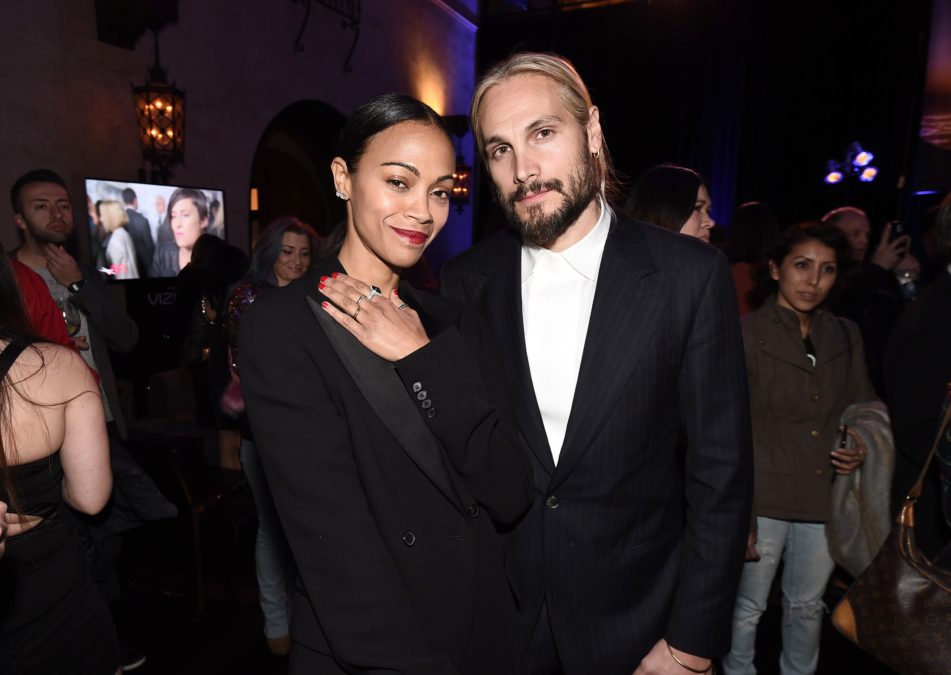 "Zoe Saldana and Marco Perego attend the Entertainment Studios Motion Pictures ""Hostiles""  premiere after party at AFI FEST 2017 at the The Hollywood Roosevelt Hotel in Los Angeles on Nov. 14, 2017."