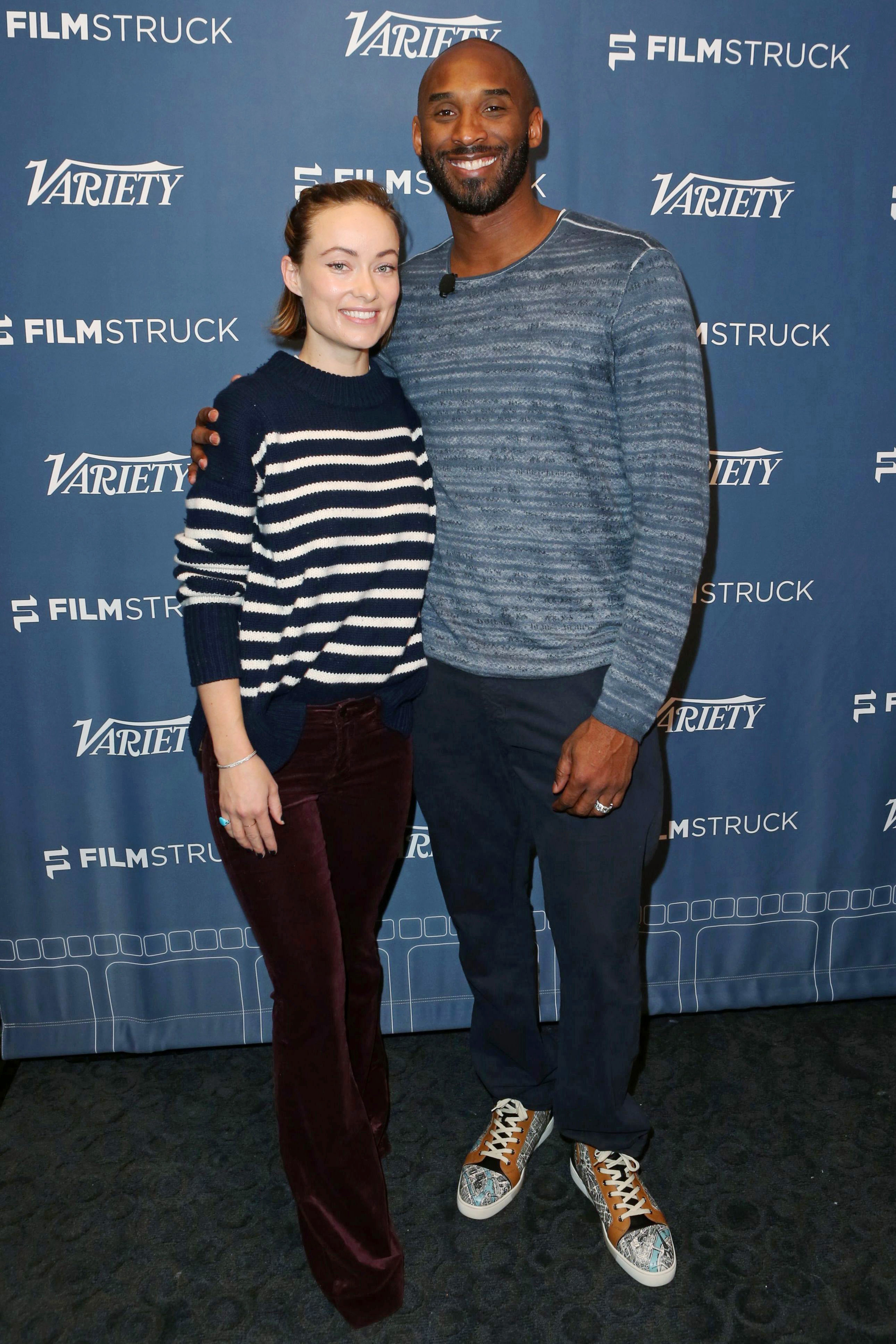 """Olivia Wilde and Kobe Bryant attend the """"Fear Us Women"""" and """"Dear Basketball"""" Variety Screening Series presented by FilmStruck in Los Angeles on Nov. 14, 2017."""