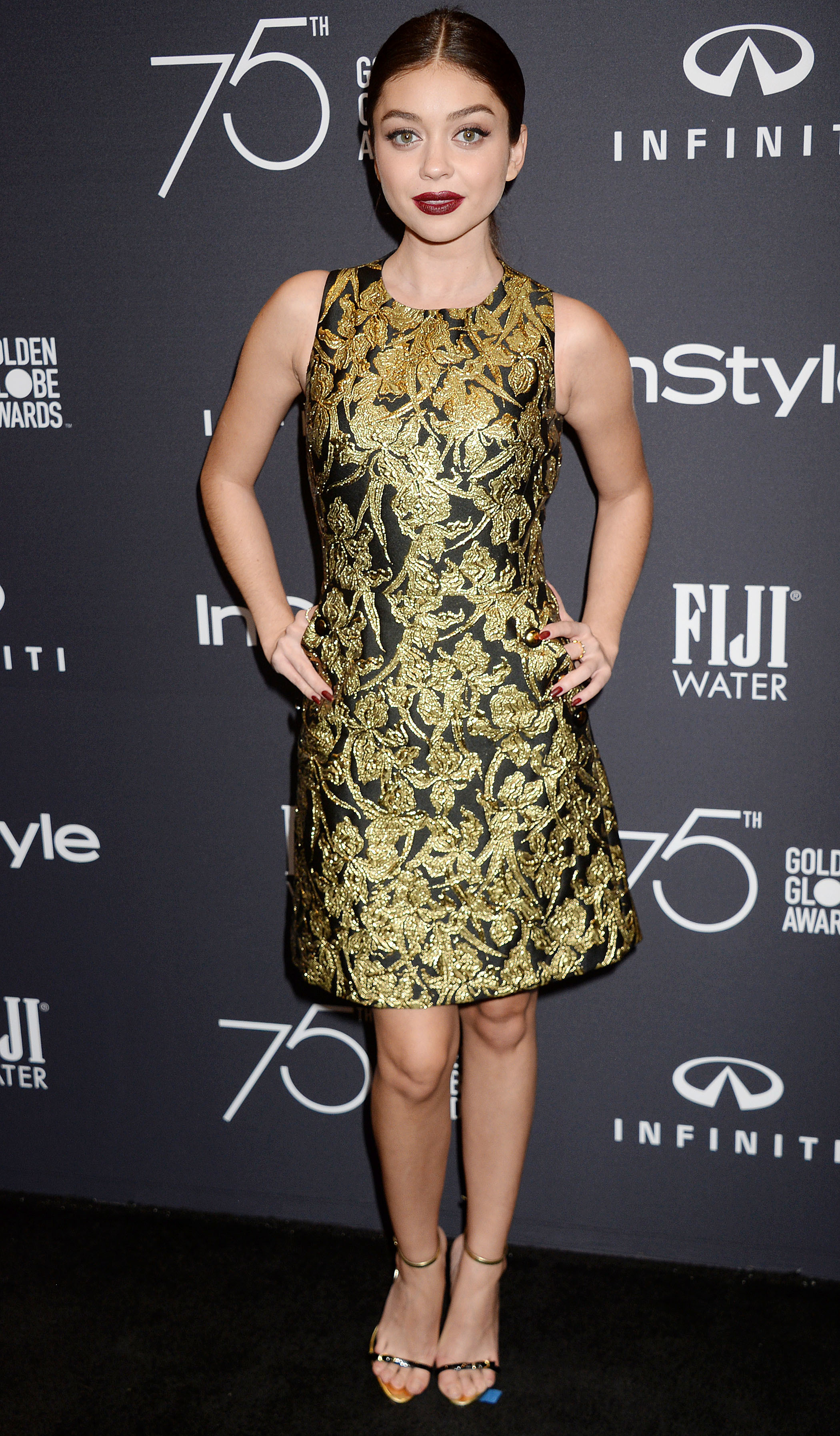 Sarah Hyland attends the HFPA and InStyle celebrate Golden Globe Season in Los Angeles on Nov. 15, 2017.