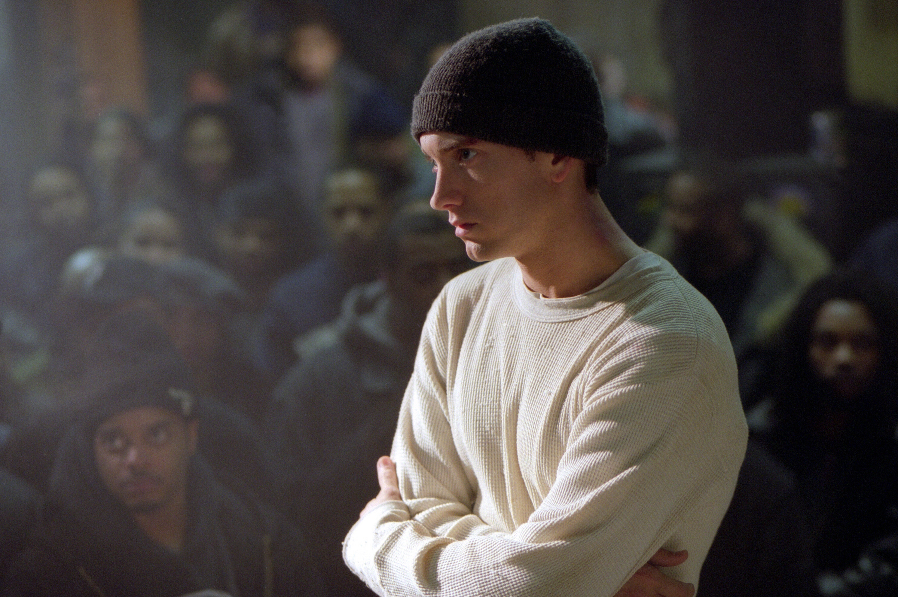 """Eminem is pictured in the 2002 film """"8 Mile."""""""