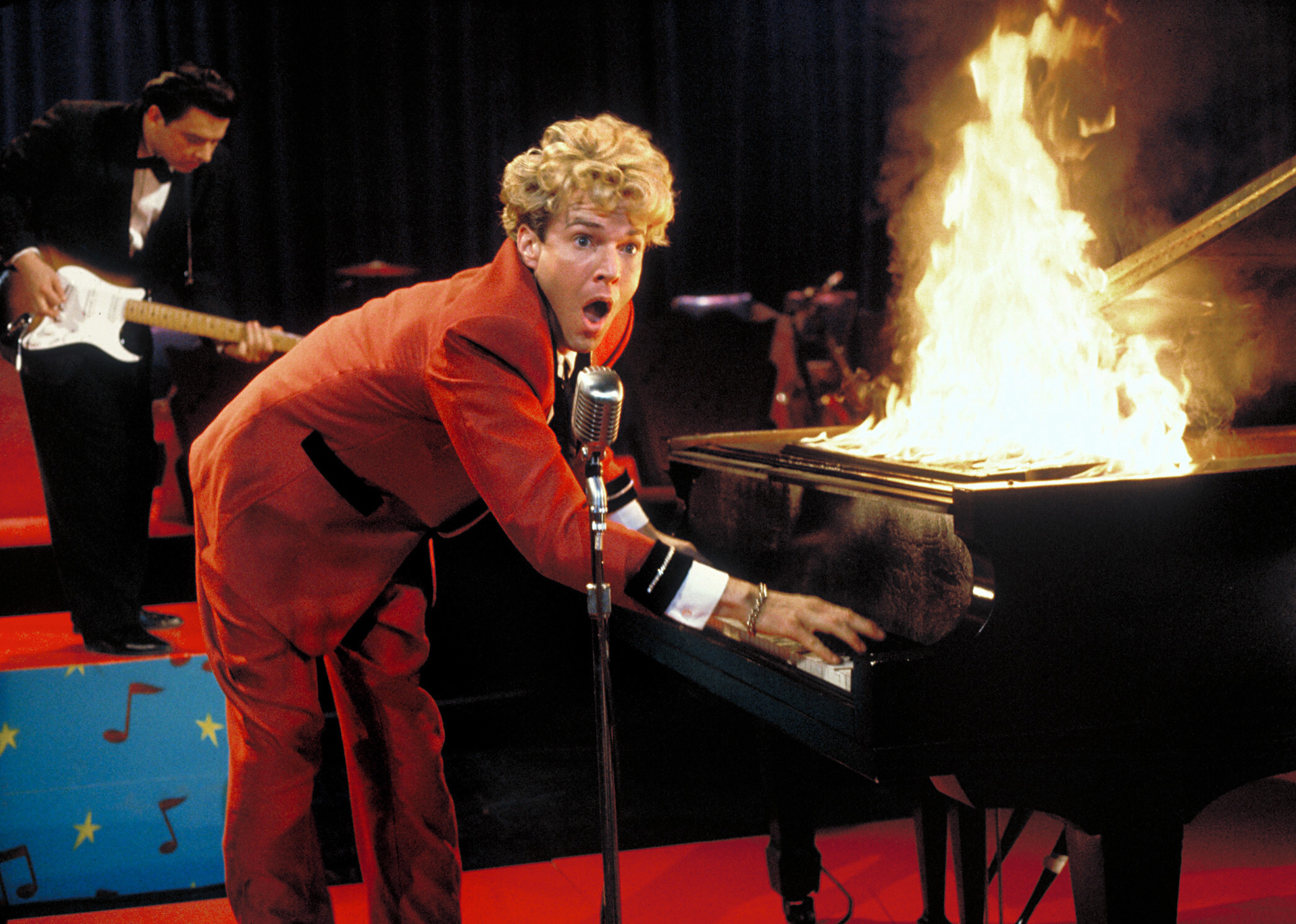 """Dennis Quaid is pictured as Jerry Lee Lewis in the 1989 film """"Great Balls of Fire!"""""""