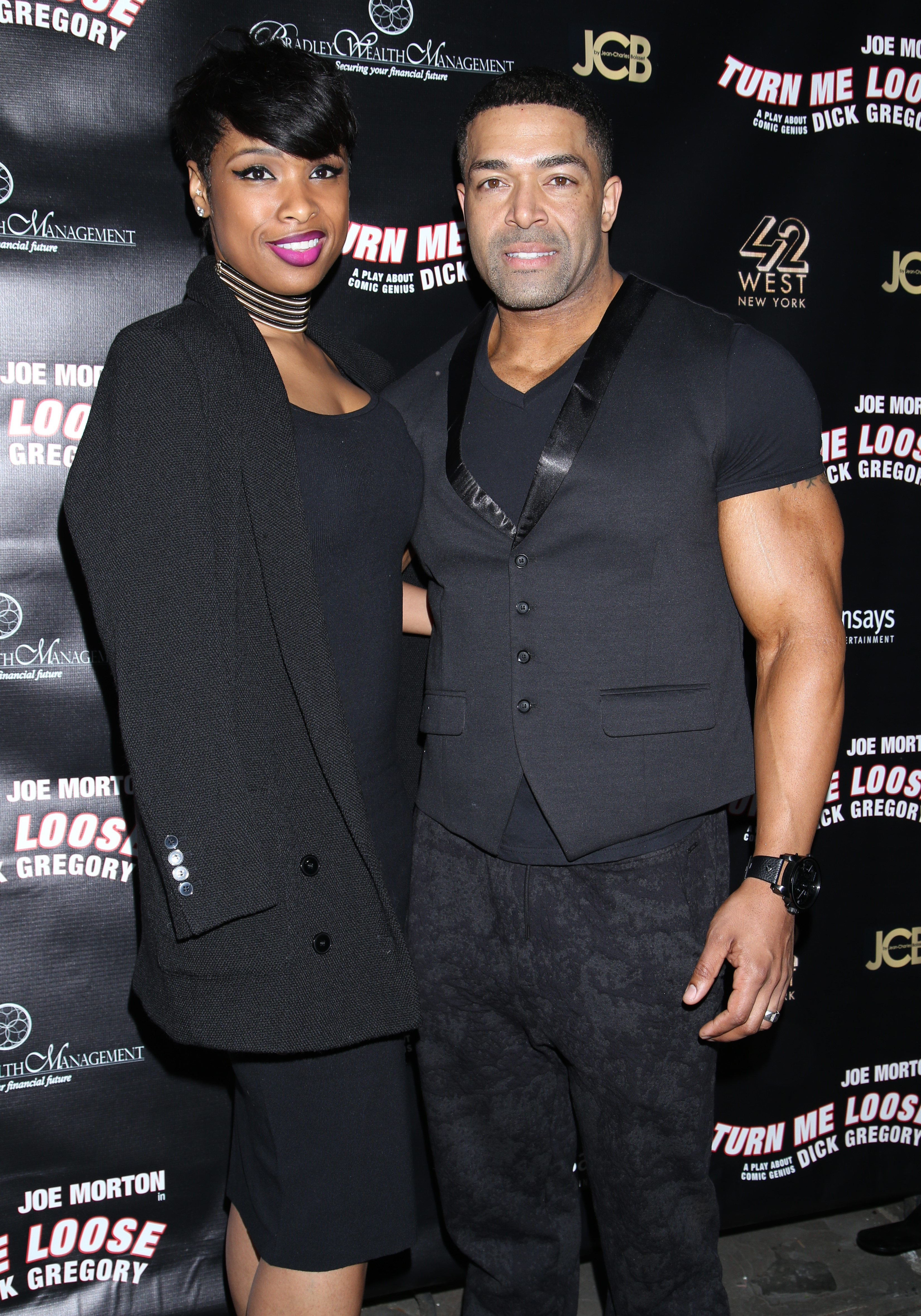 Jennifer Hudson and David Otunga attend opening night of Turn Me Loose at the West Side Theatre  in New York City on May 20, 2016.