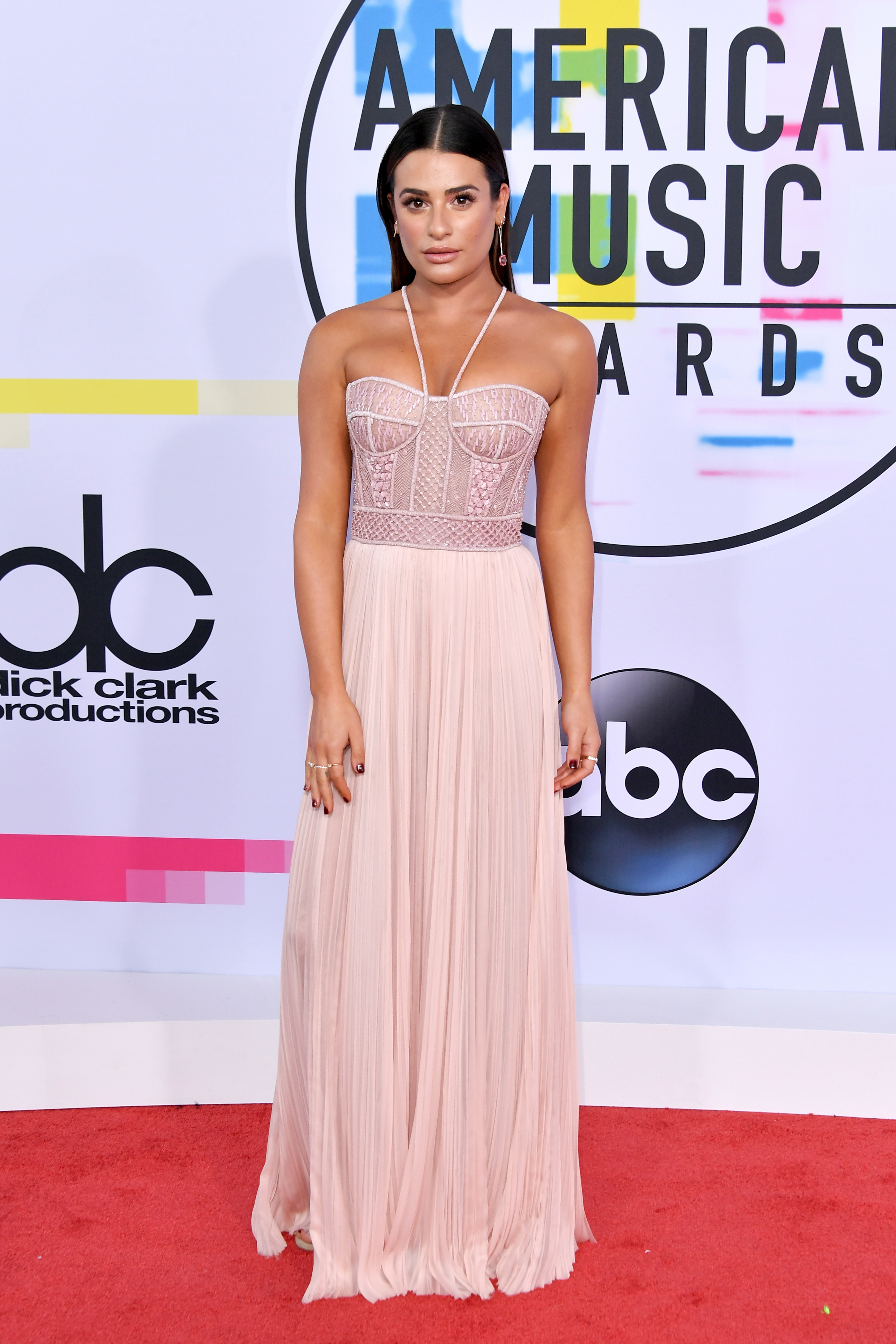 Lea Michele attends the American Music Awards at the Microsoft Theater in Los Angeles on Nov. 19, 2017.