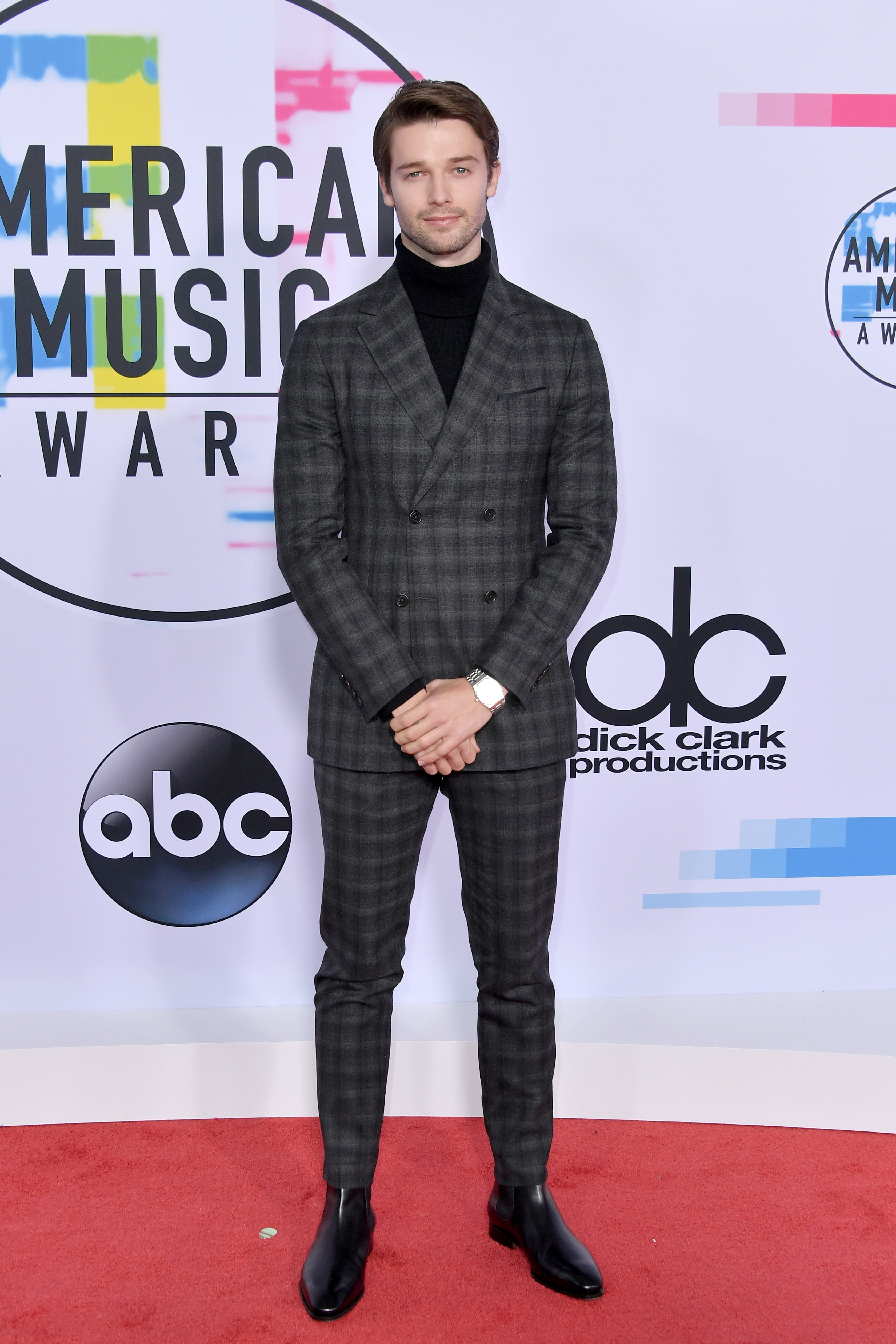 Patrick Schwarzenegger attends the American Music Awards at the Microsoft Theater in Los Angeles on Nov. 19, 2017.