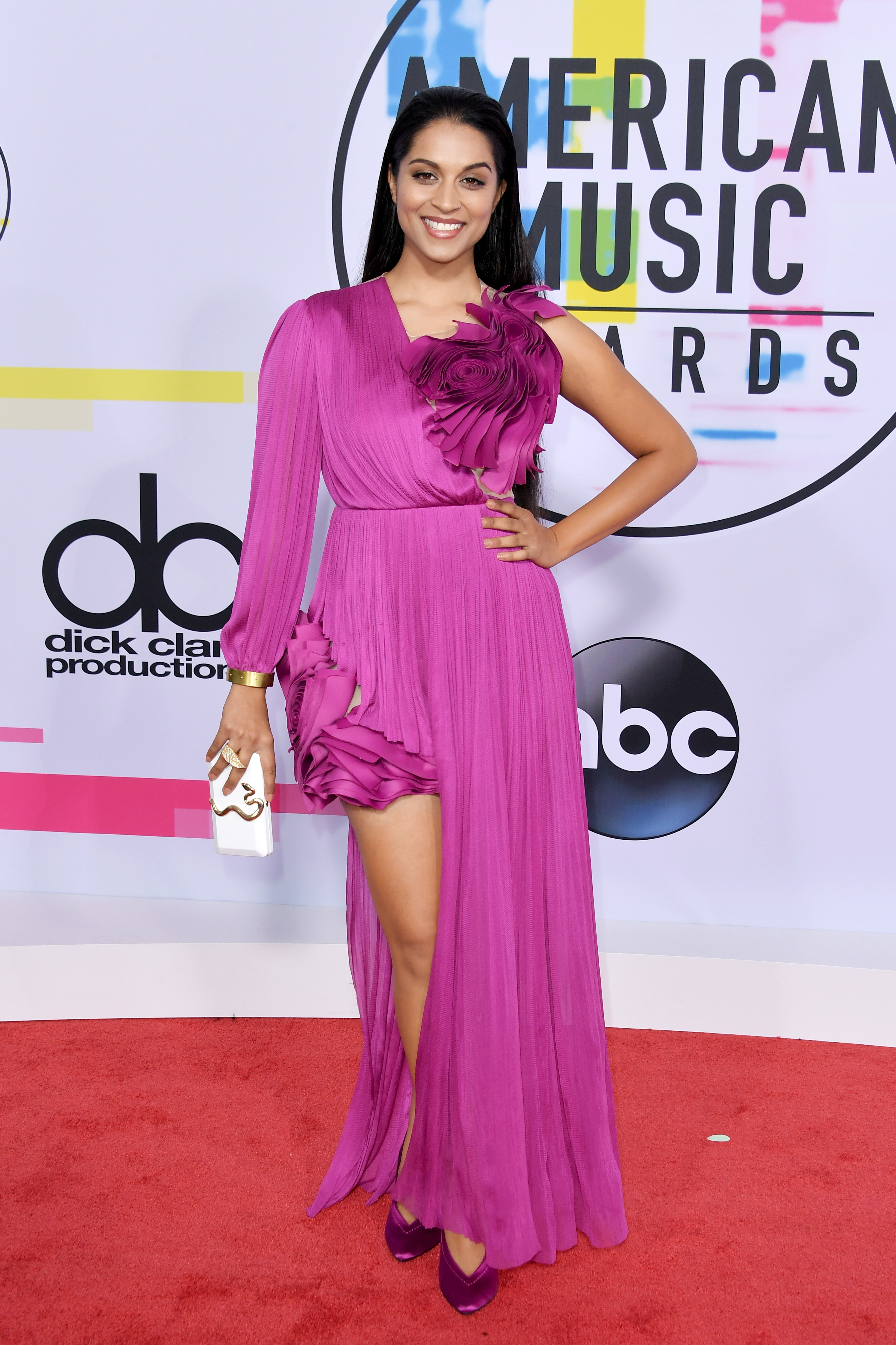 Lilly Singh attends the American Music Awards at the Microsoft Theater in Los Angeles on Nov. 19, 2017.