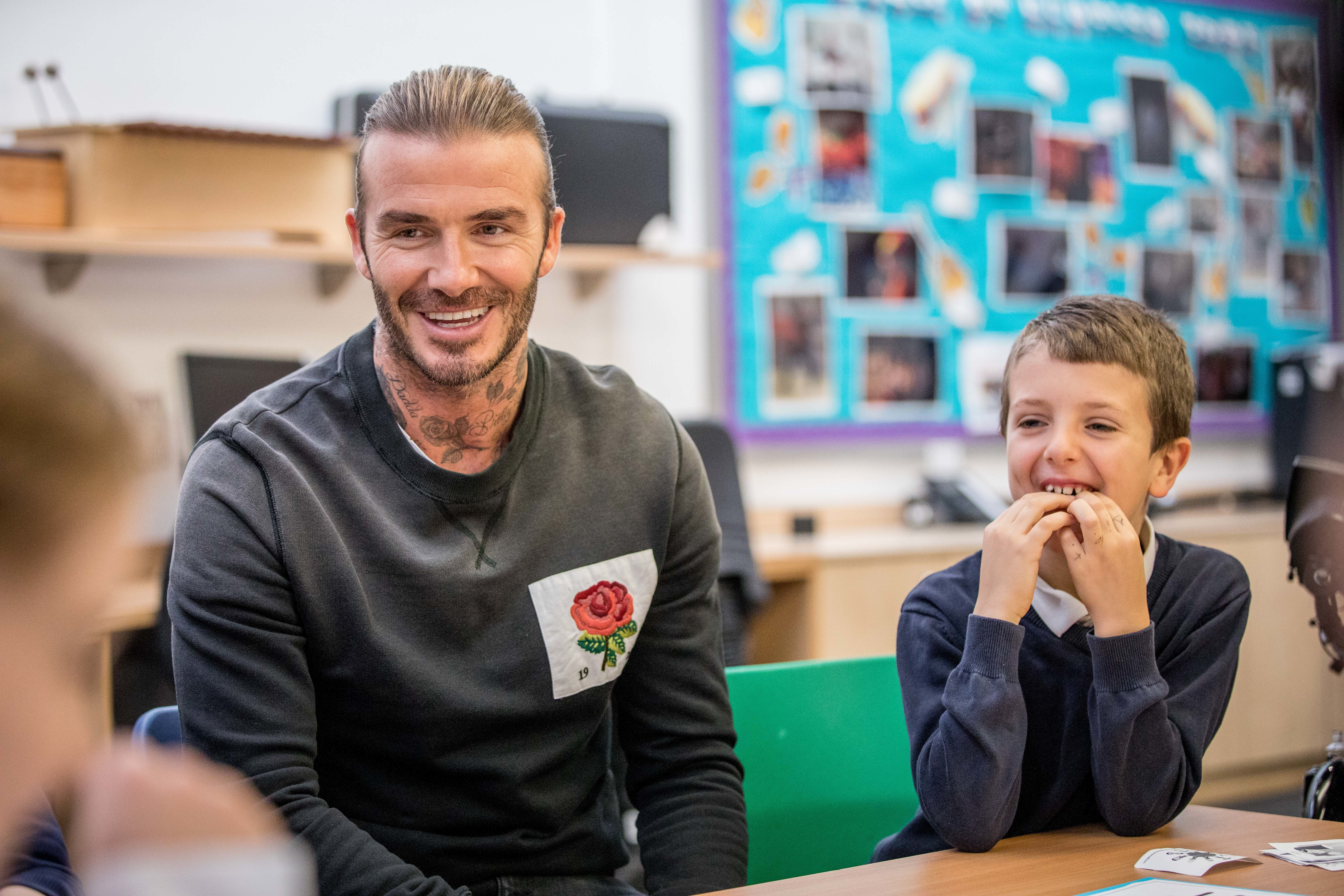 David Beckham appears as a UNICEF Goodwill Ambassador for a visit at the Kentish Town C of E Primary School in London on Nov. 20, 2017.