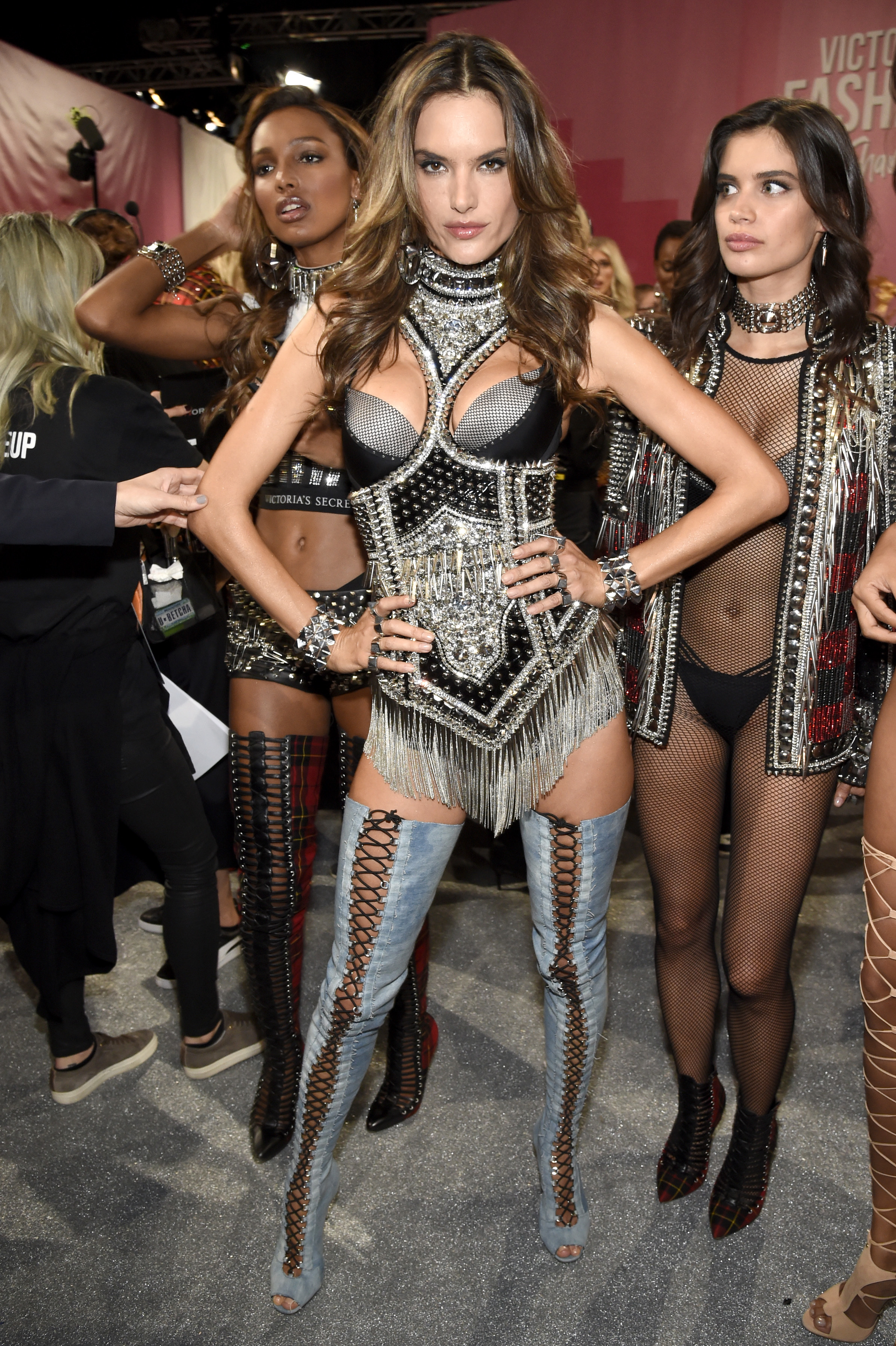 Alessandra Ambrosio poses backstage at the Victoria's Secret Fashion Show in Shanghai, China, on Nov. 20, 2017.
