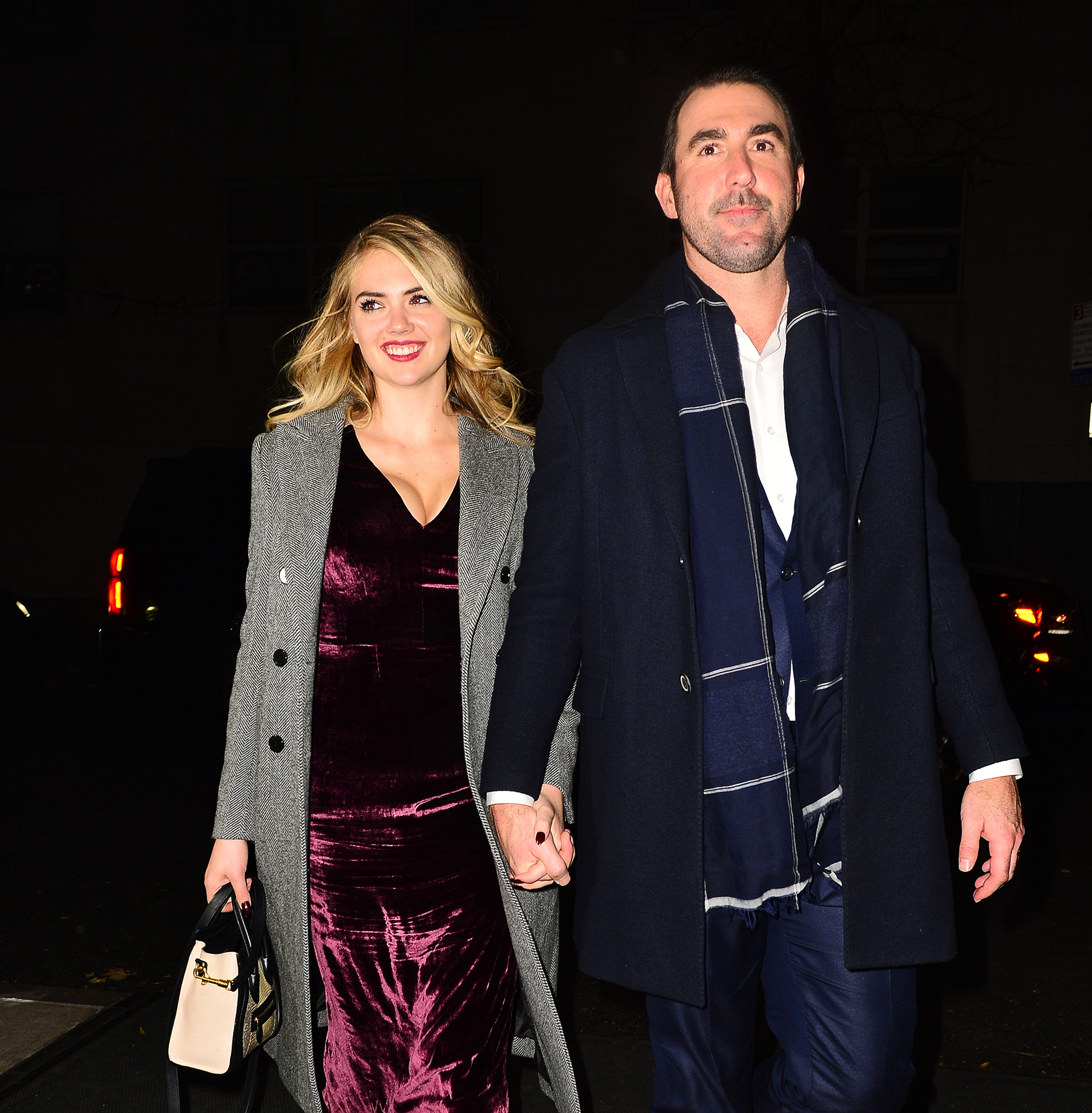 Kate Upton and Justin Verlander are all smiles as they arrive hand in hand to The Polo Bar in New York City on Nov. 18, 2017.