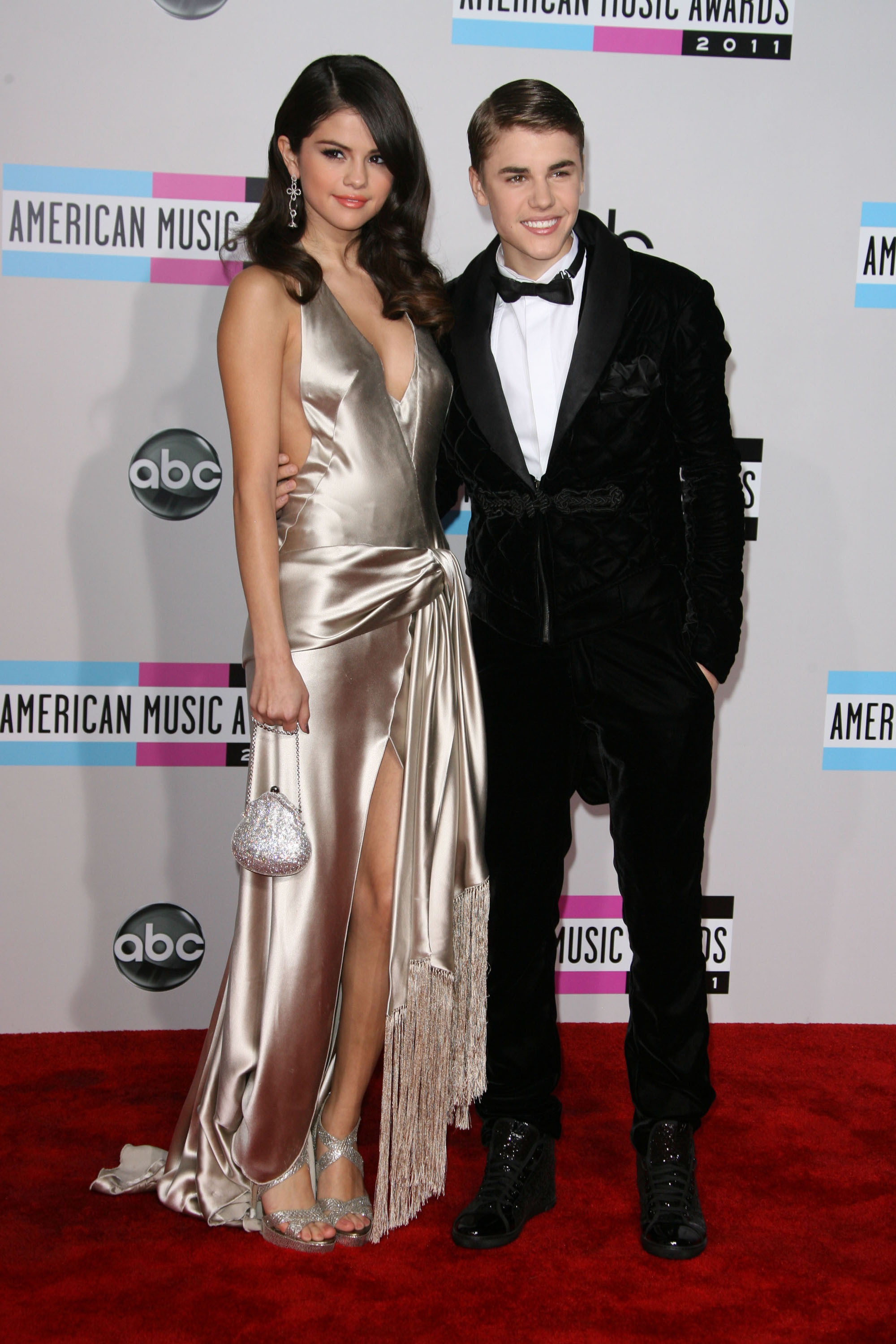 Selena Gomez and Justin Bieber attend the American Music Awards at the Nokia Theatre L.A. Live in Los Angeles on Nov. 20, 2011.
