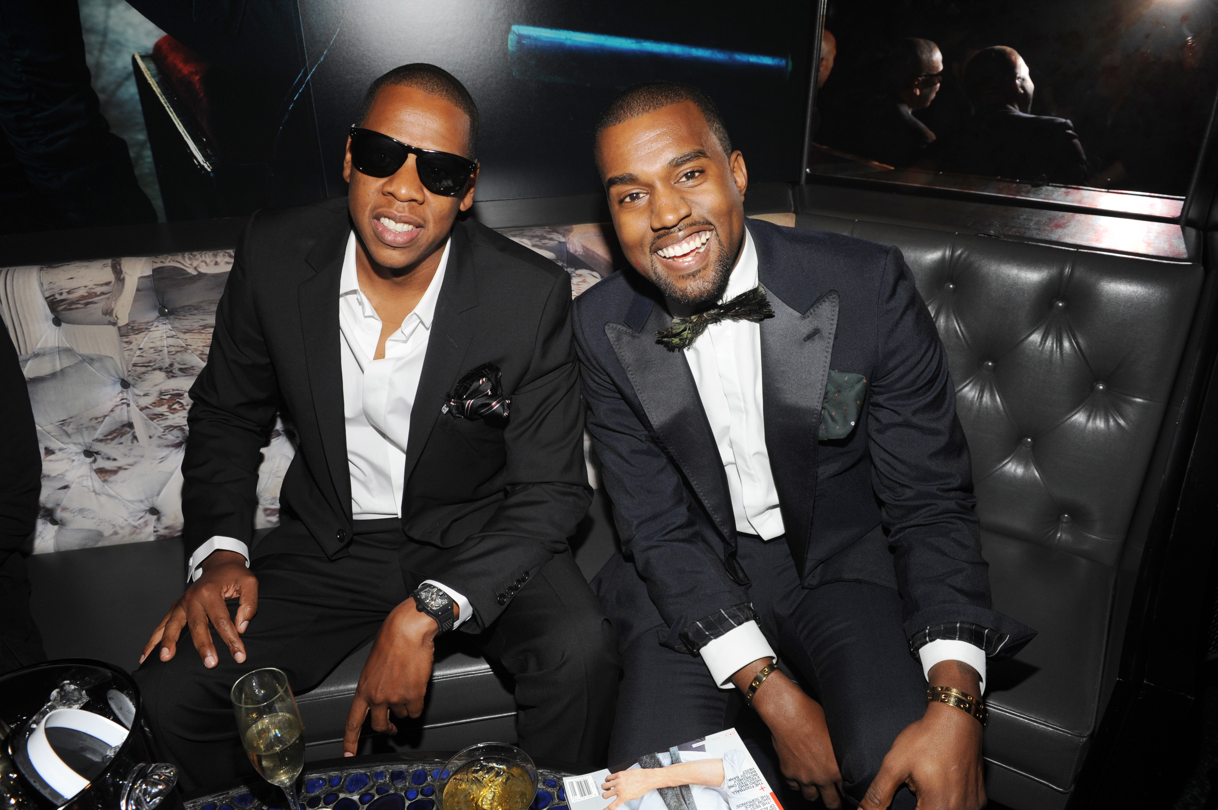 Jay Z, Kanye West attend the GQ & Rocawear NYC Fashion Week Party in New York City on Aug. 16, 2010.