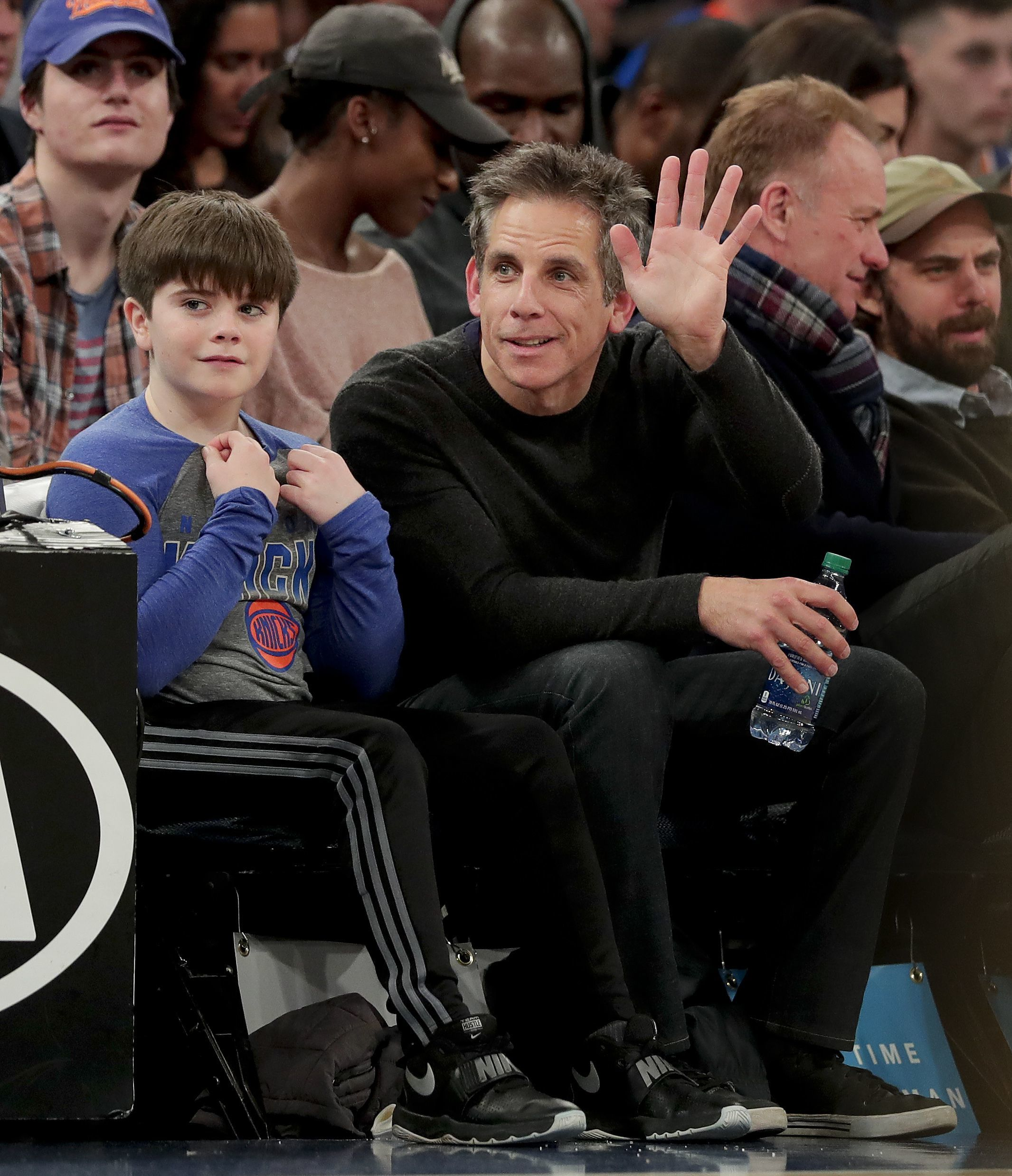 Ben Stiller hung with his son Quinlan while at a New York Knicks basketball game in New York City on Nov. 22, 2017.