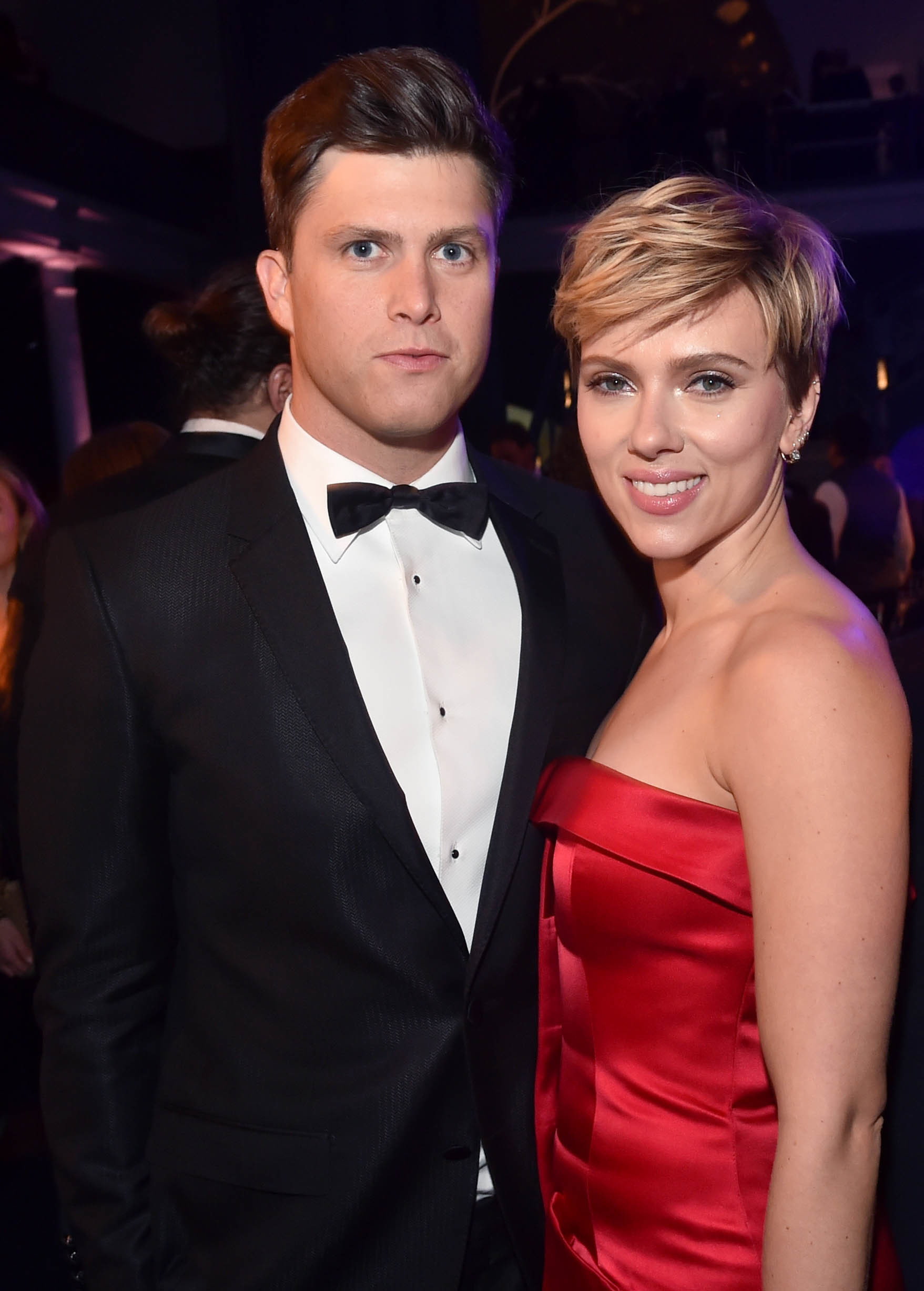 Colin Jost and Scarlett Johansson attend the American Museum of Natural History Gala in New York City on Nov. 30, 2017.