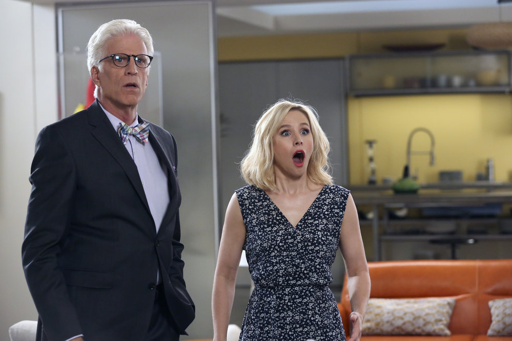 """Ted Danson as Michael and Kristen Bell as Eleanor Shellstrop reveal the Season 1 finale shocker of """"The Good Place"""" in 2017."""