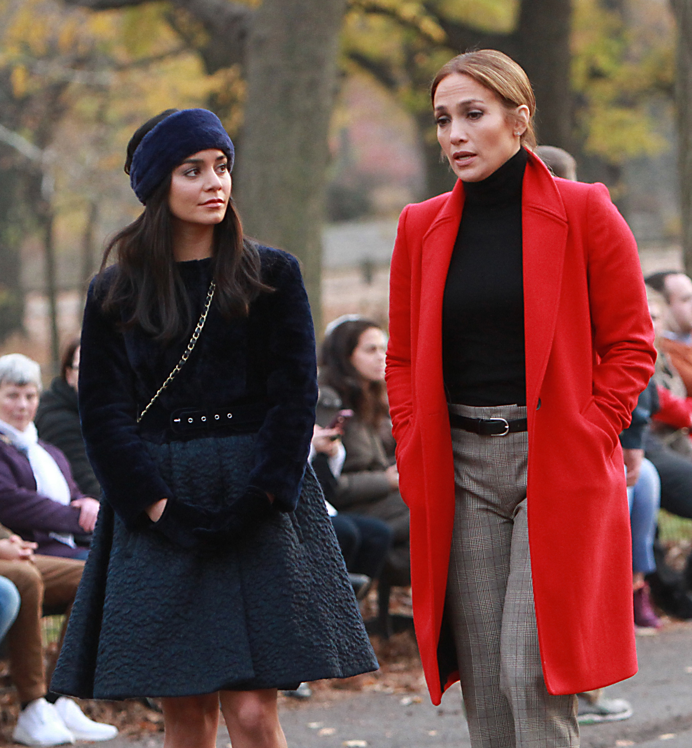 "Vanessa Hudgens and Jennifer Lopez appear on the set of ""Second Act"" in New York City on Dec. 4, 2017."