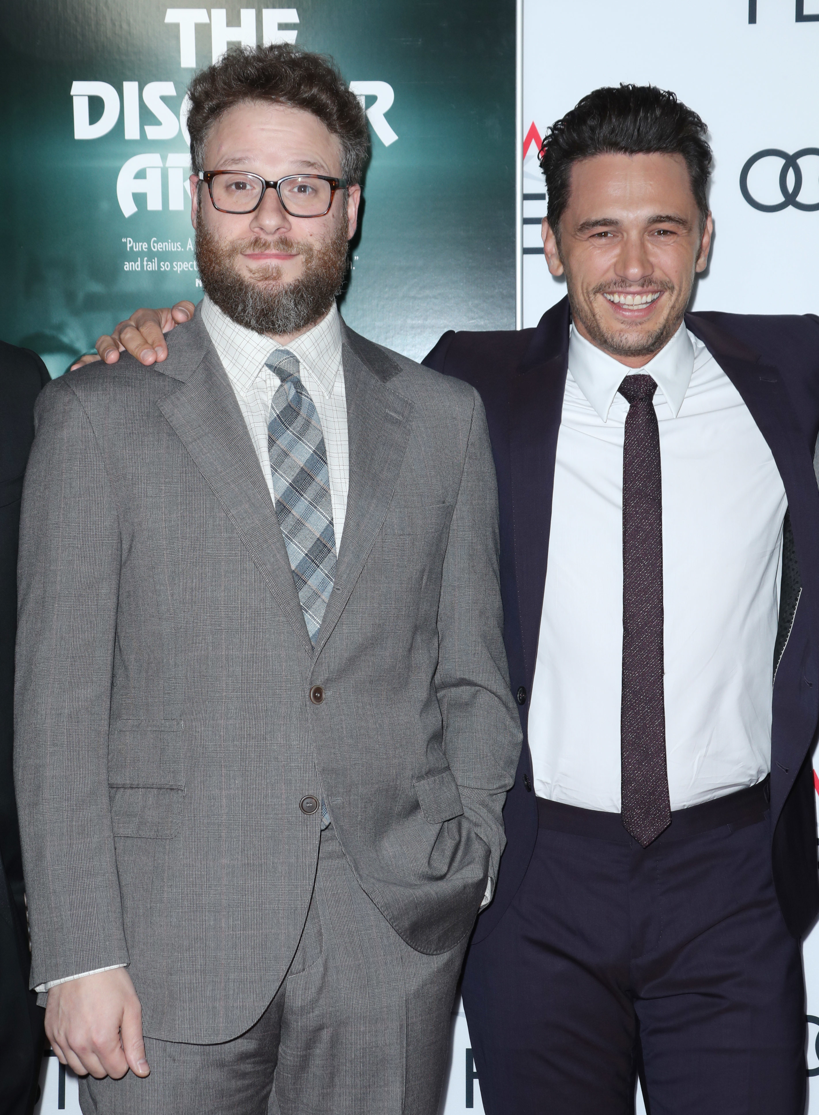 """Seth Rogen and James Franco arrive at """"The Disaster Artist"""" Centerpiece Gala at the AFI Fest in Los Angeles on Nov. 12, 2017."""