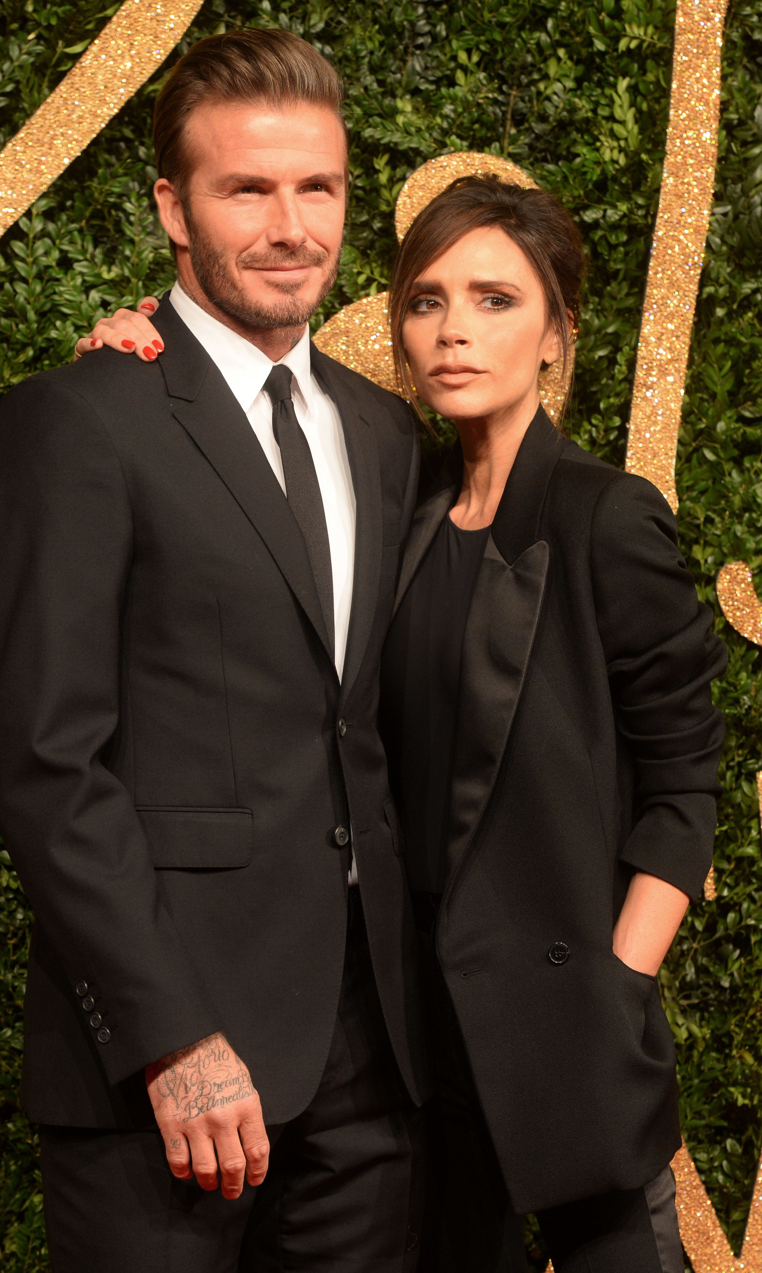 David and Victoria Beckham attend the British Fashion Awards at The Coliseum in London on Nov. 23, 2015.