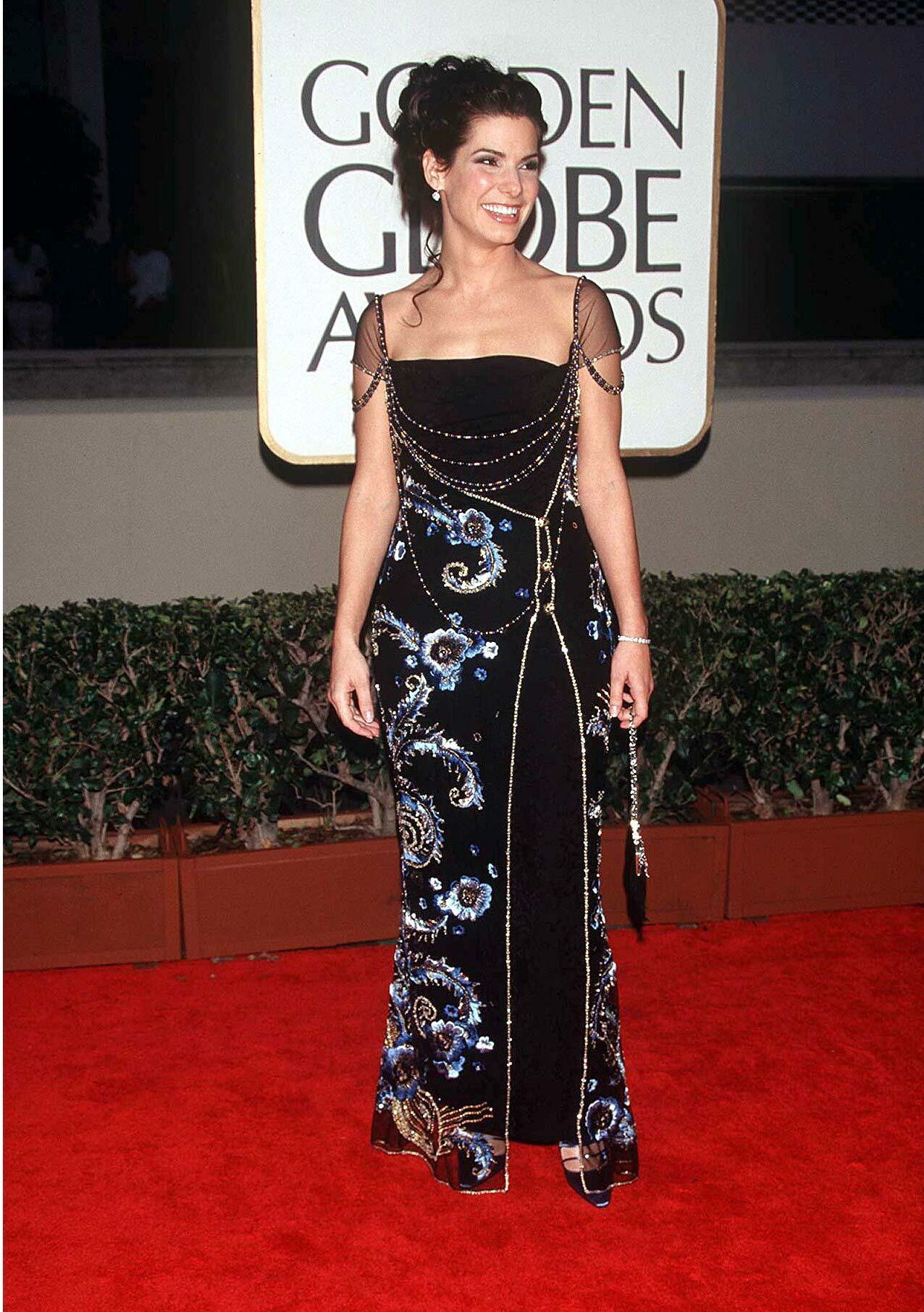 Sandra Bullock arrives at the 55th annual Golden Globe Awards in Beverly Hills on Jan. 18, 1998.
