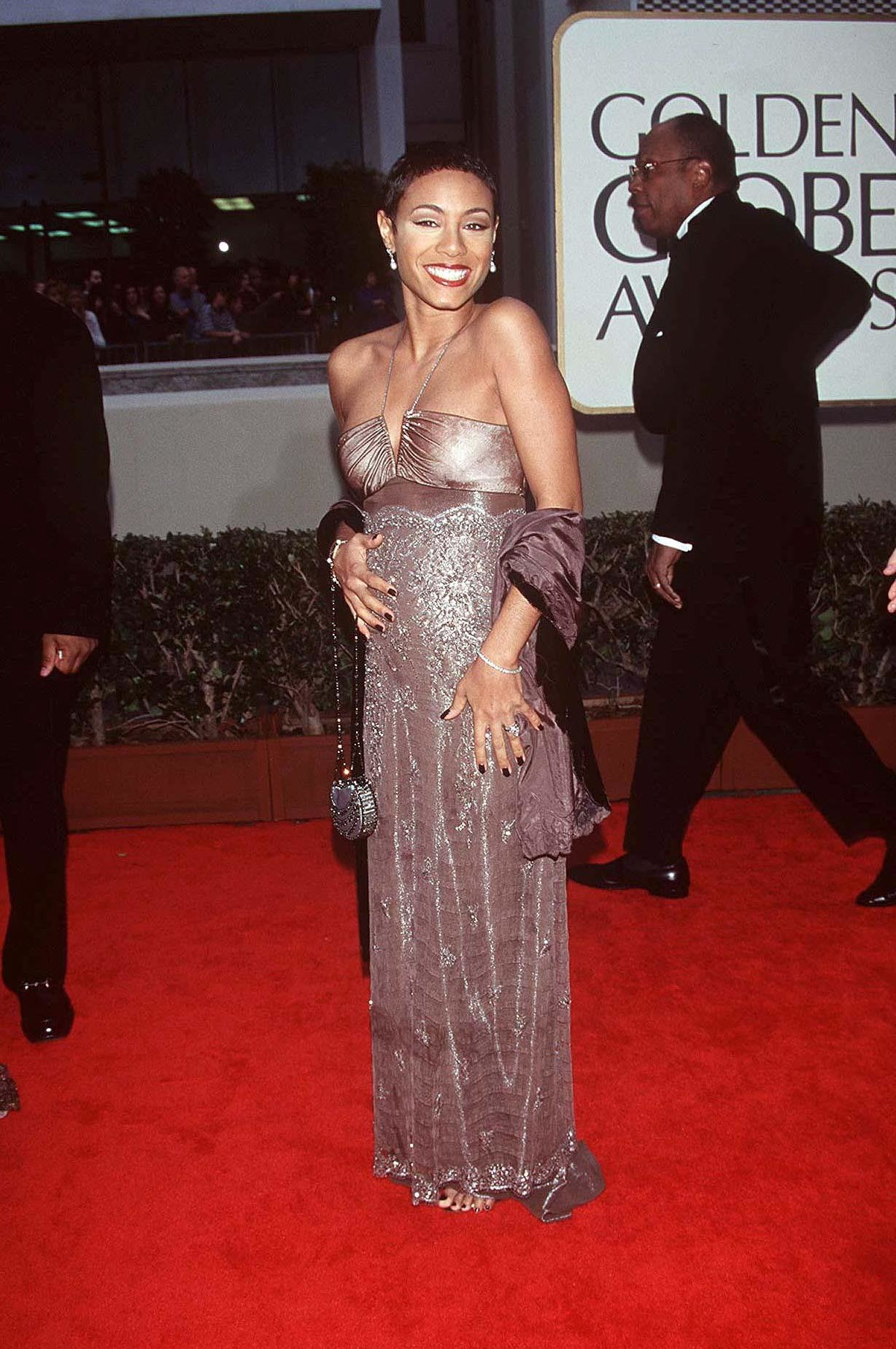 Jada Pinkett arrives at the 55th annual Golden Globe awards in Bevery Hills on Jan. 18, 1998.