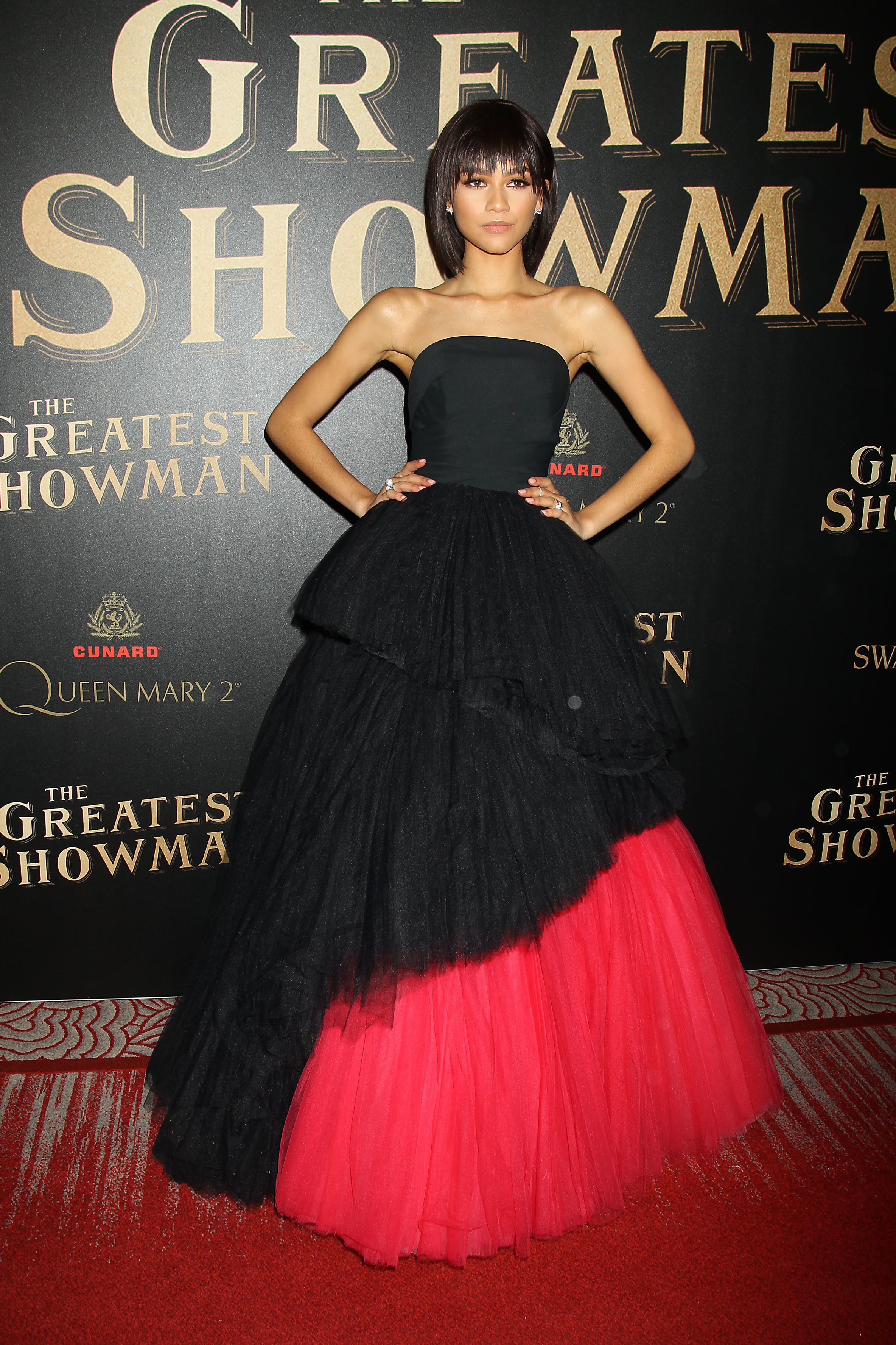 """Zendaya attends the Twentieth Century Fox In partnership with Cunard and Swarovski for the world premiere of """"The Greatest Showman"""" on Queen Mary 2 in New York City on Dec. 8, 2017."""