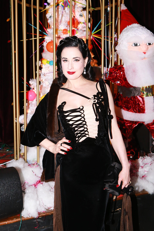 Dita Von Teese attends the Ellen von Unwerth Christmas party in Los Angeles on Dec. 11, 2017.
