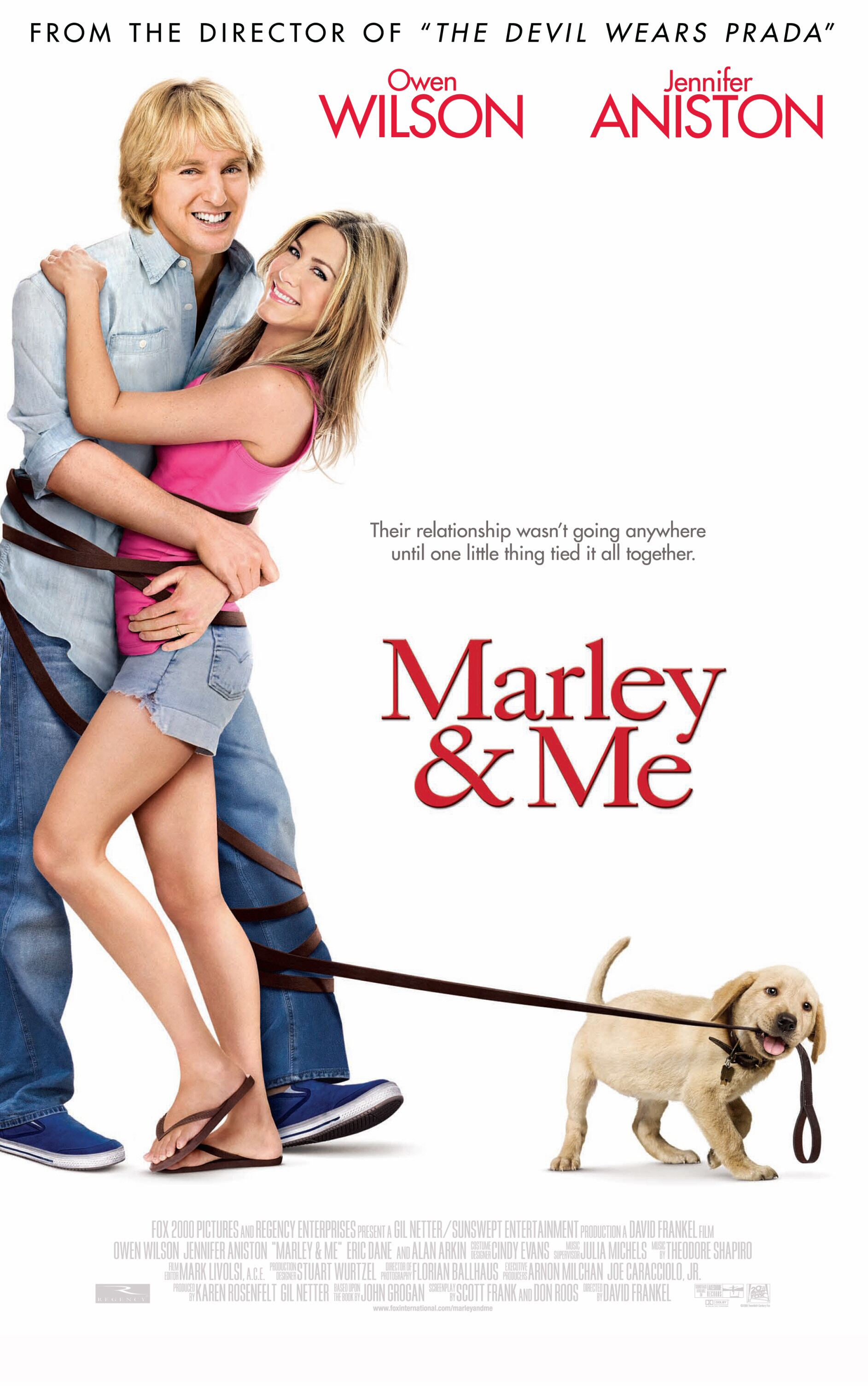 """Owen Wilson and Jennifer Aniston appear on the movie poster for 2008's """"Marley & Me."""""""