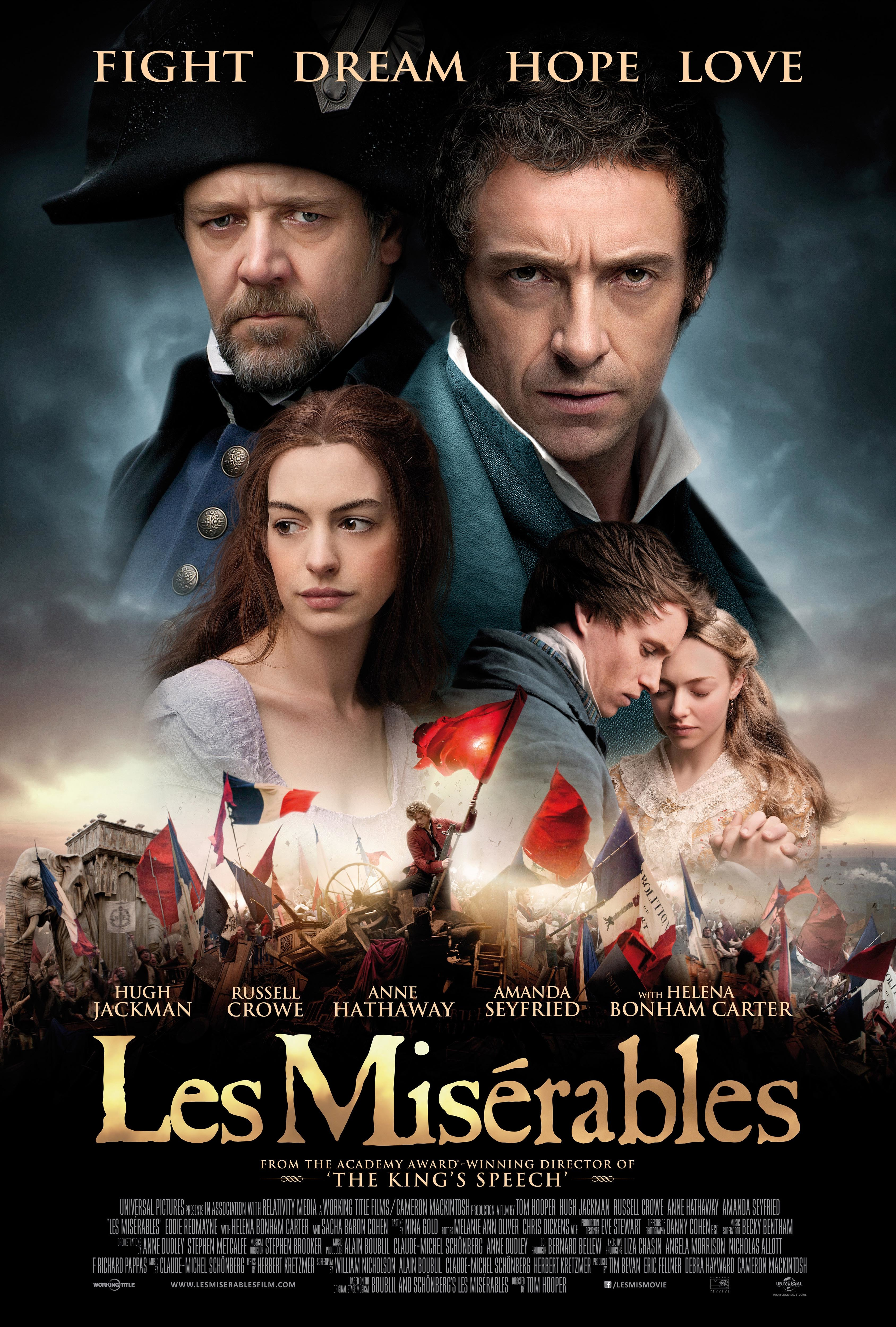 """Russell Crowe, Anne Hathaway, Hugh Jackman, Eddie Redmayne and Amanda Seyfried appear on the movie poster for 2012's """"Les Misérables."""""""