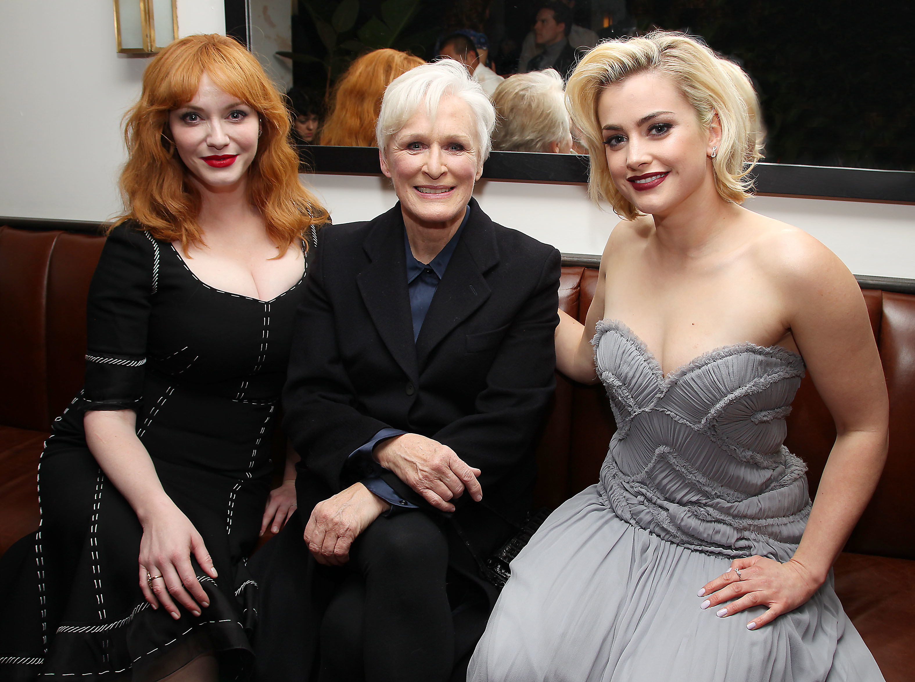 """Christina Hendricks, Glenn Close and Stefanie Martini attend the premiere of """"Crooked House"""" in New York City on Dec. 13, 2017."""
