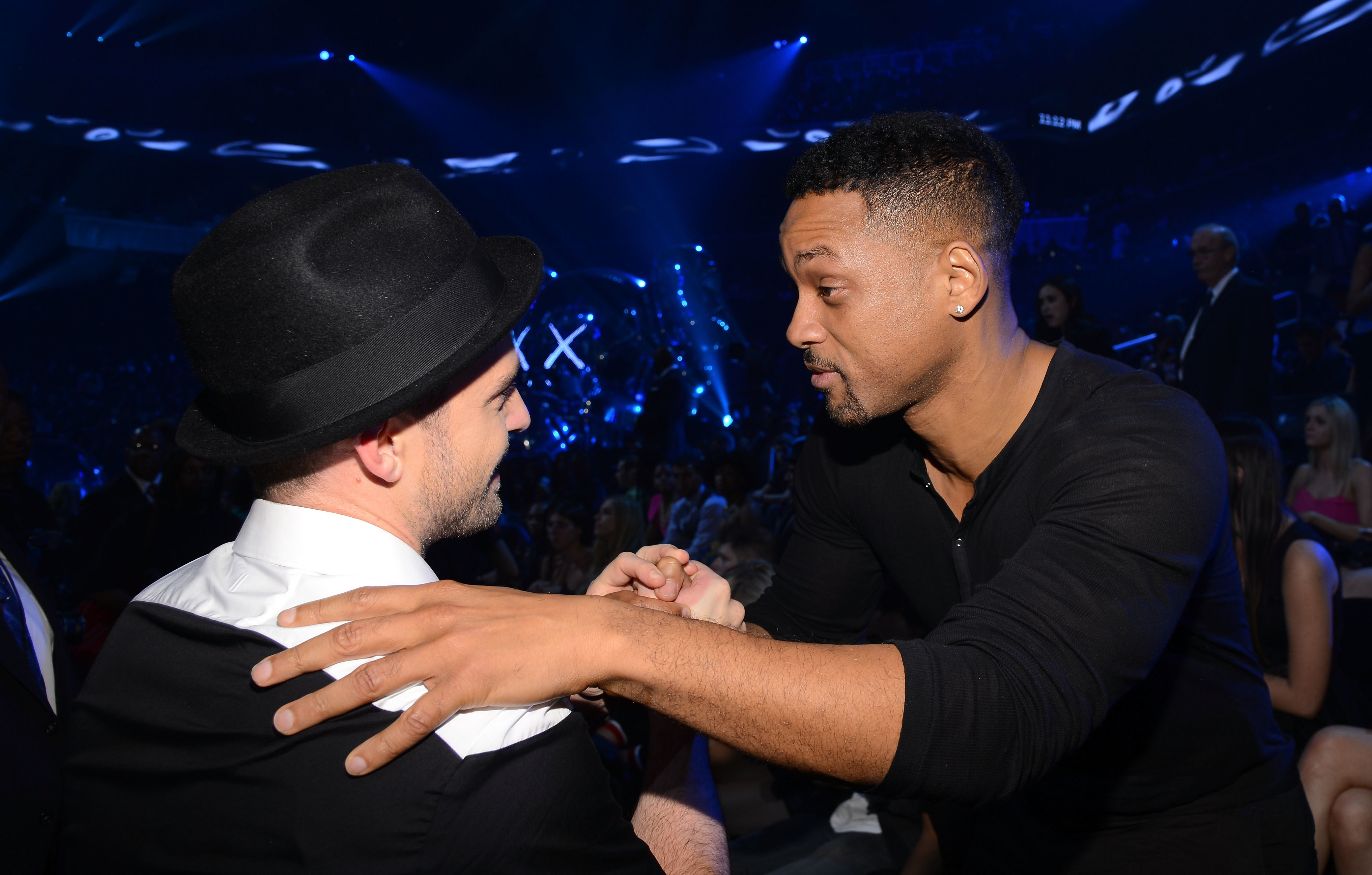 Justin Timberlake and Will Smith attends the MTV Video Music Awards at the Barclays Center in New York City on Aug. 25, 2013.