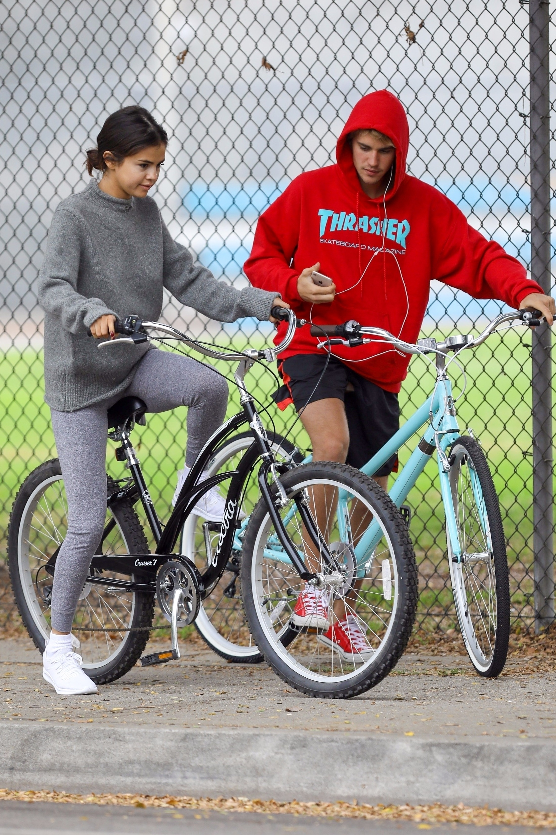 Selena Gomez and Justin Bieber are seen on a morning bike ride in Los Angeles on Nov. 1, 2017.
