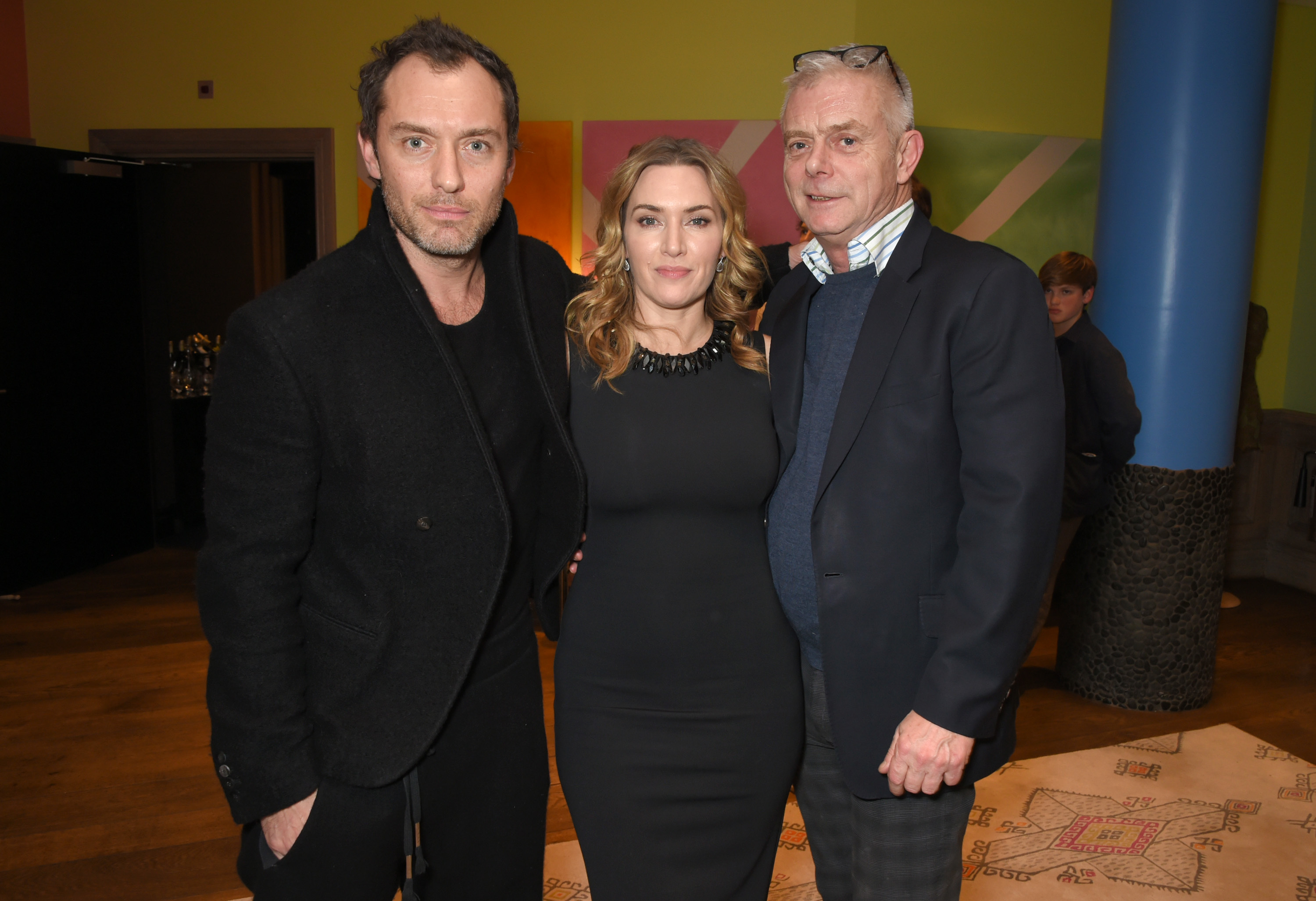 "Jude Law, Kate Winslet and Stephen Daldry attend a special screening of ""Wonder Wheel"" hosted by Stephen Daldry at The Soho Hotel in London on Dec. 18, 2017."
