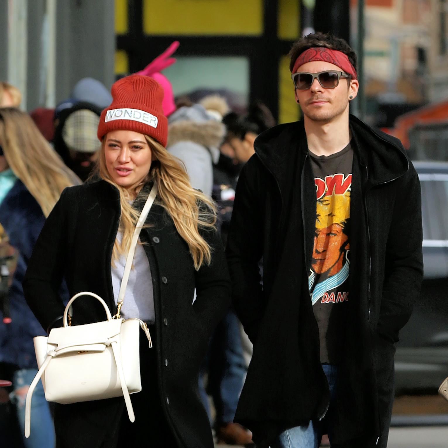 Hilary Duff and her boyfriend Matthew Koma shop in Soho in New York City on Dec. 20, 2017.