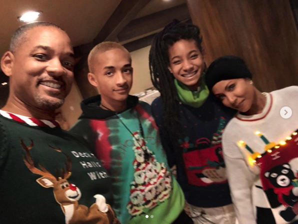 """""""Tryna get some photos in before these sweaters start Itchin'! I'm starting to feel it already. @treysmith0011 we wish you were here.""""   Will Smith, who posted this photo on Instagram with his family, including Jada Pinkett Smith, Jaden Smith and Willow Smith, on Dec. 25, 2017."""