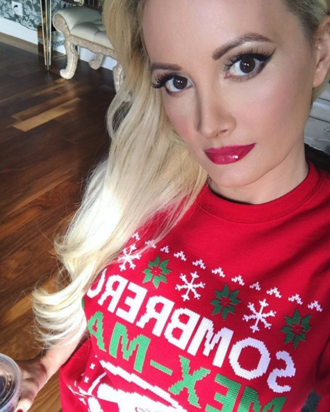 """""""Merry Christmas 💋🎄""""   Holly Madison, who posted this photo on Instagram on Dec. 25, 2017."""