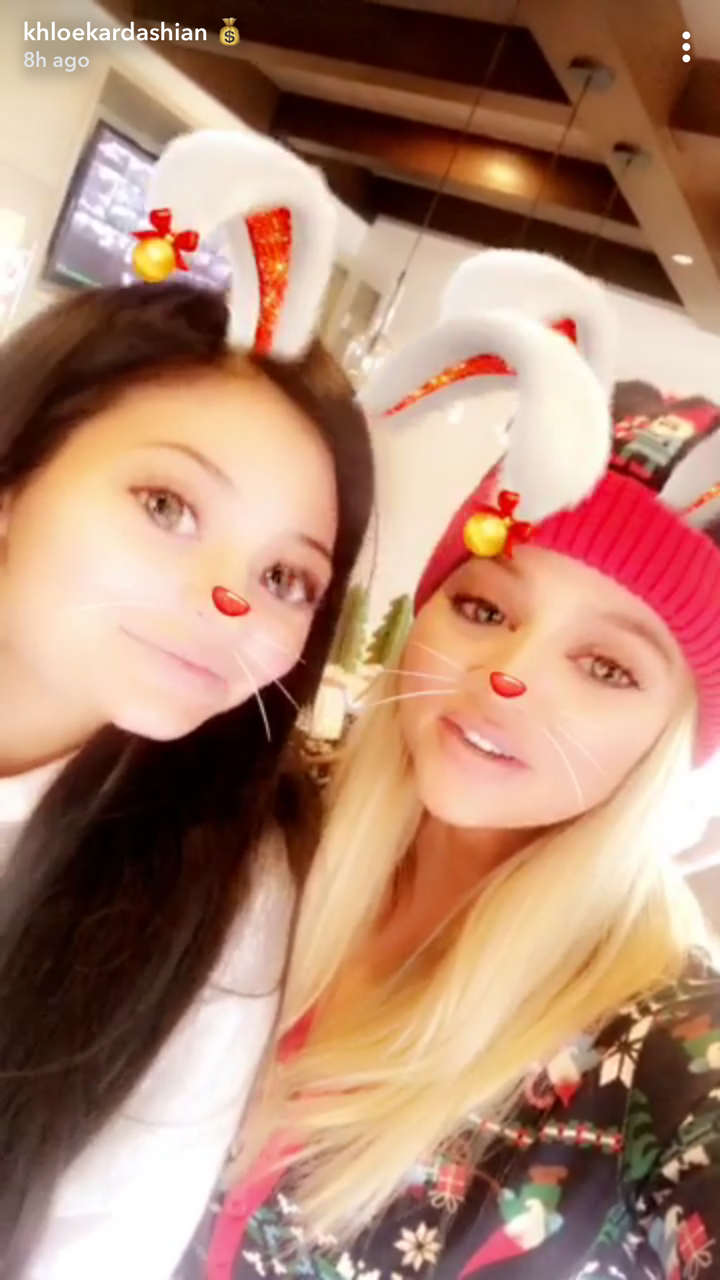 Khloe Kardashian shared a selfie on Snapchat with her sister Kylie Jenner on Dec. 25, 2017.