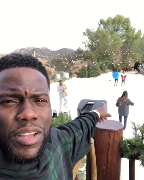 """""""I bought aspen to Malibu since we couldn't go to aspen this year....anything for my kids. #Harts #happyholidays""""   Kevin Hart, who posted this photo on Instagram on Dec. 25, 2017."""