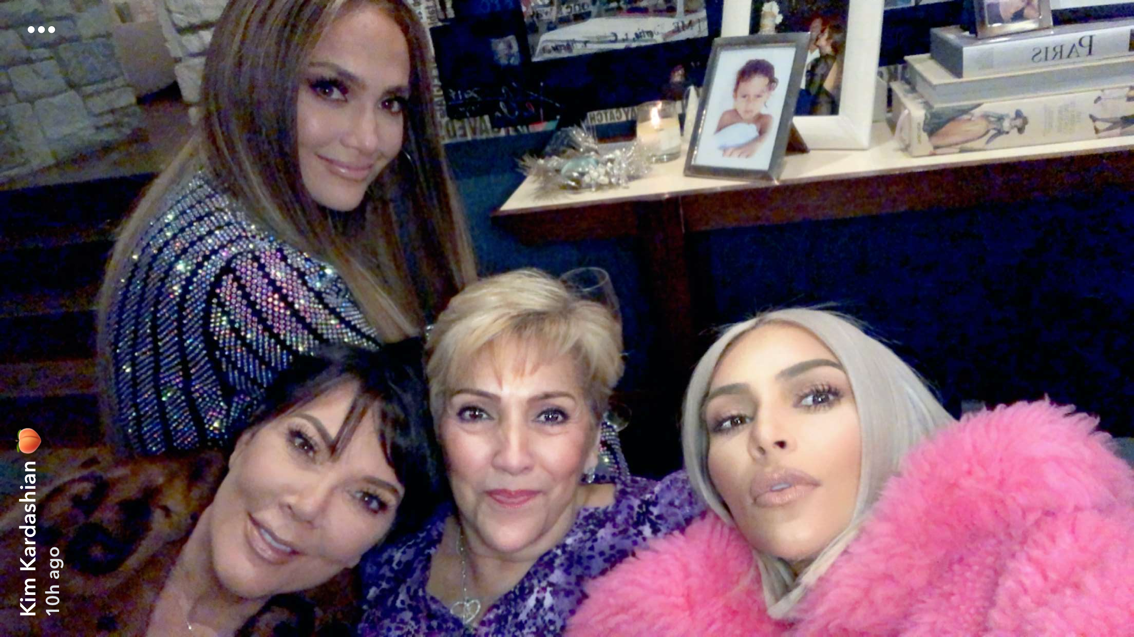 Kim Kardashian West shared this mom daughter selfie with her mom Kris Jenner, Jennifer Lopez and her mom Guadalupe Rodriguez on Snapchat on Dec. 27, 2017.
