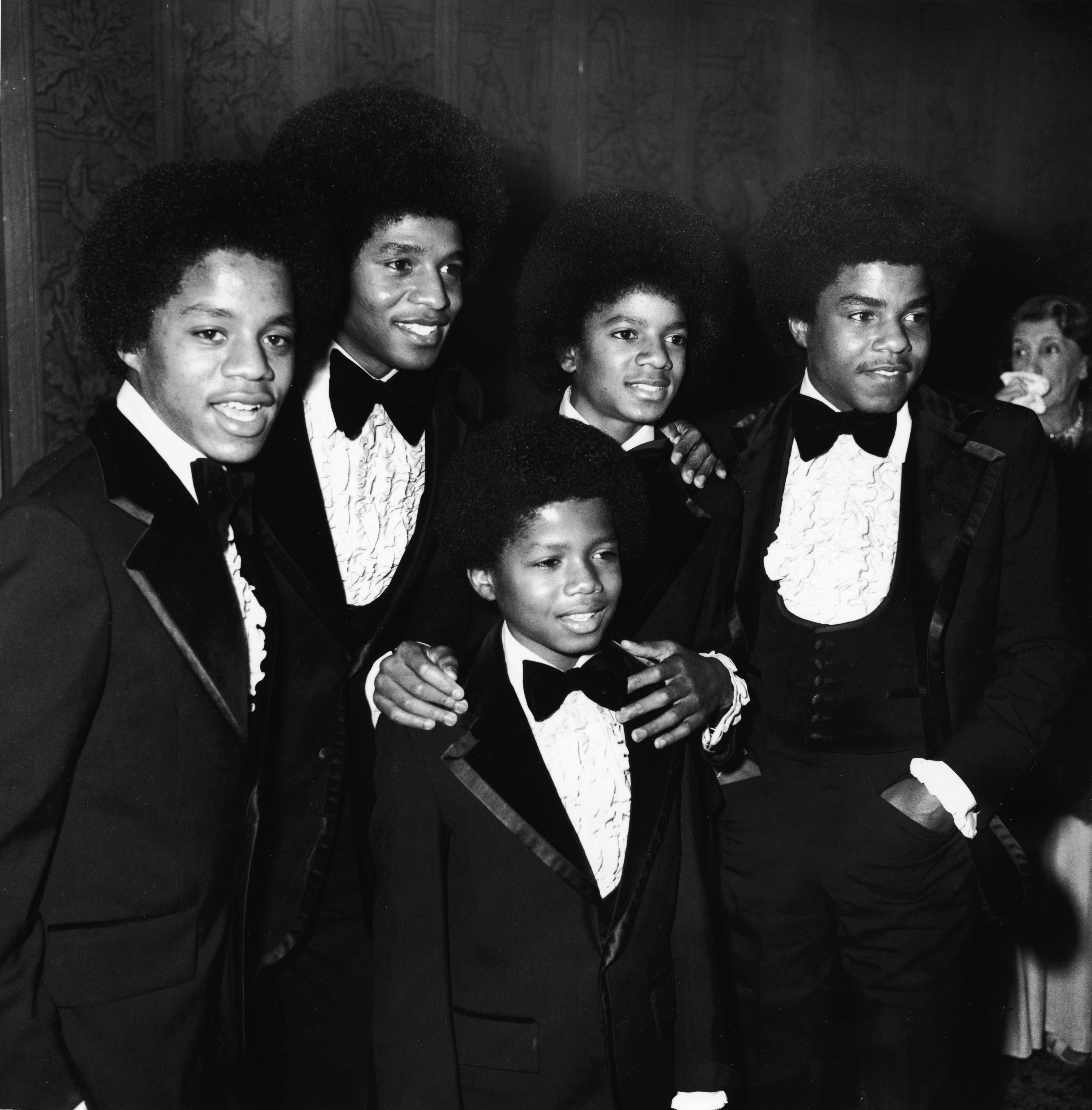 The Jackson 5 attend the Grammy Awards Ceremony at the Hollywood Palladium,in Hollywood on March 5, 1974.