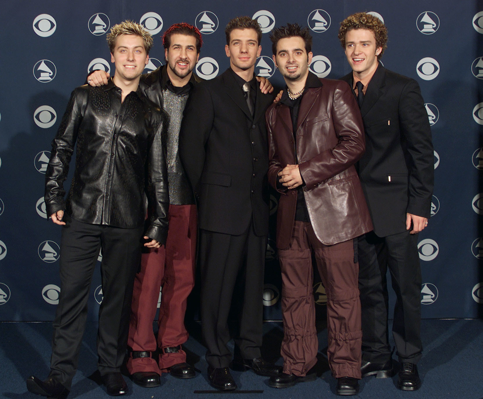 Lance Bass, Joey Fatone, JC Chasez, Chris Kirkpatrick and Justin Timberlake of *NSYNC attend the 42nd Annual Grammy Awards in Los Angeles on Feb. 23, 2000.