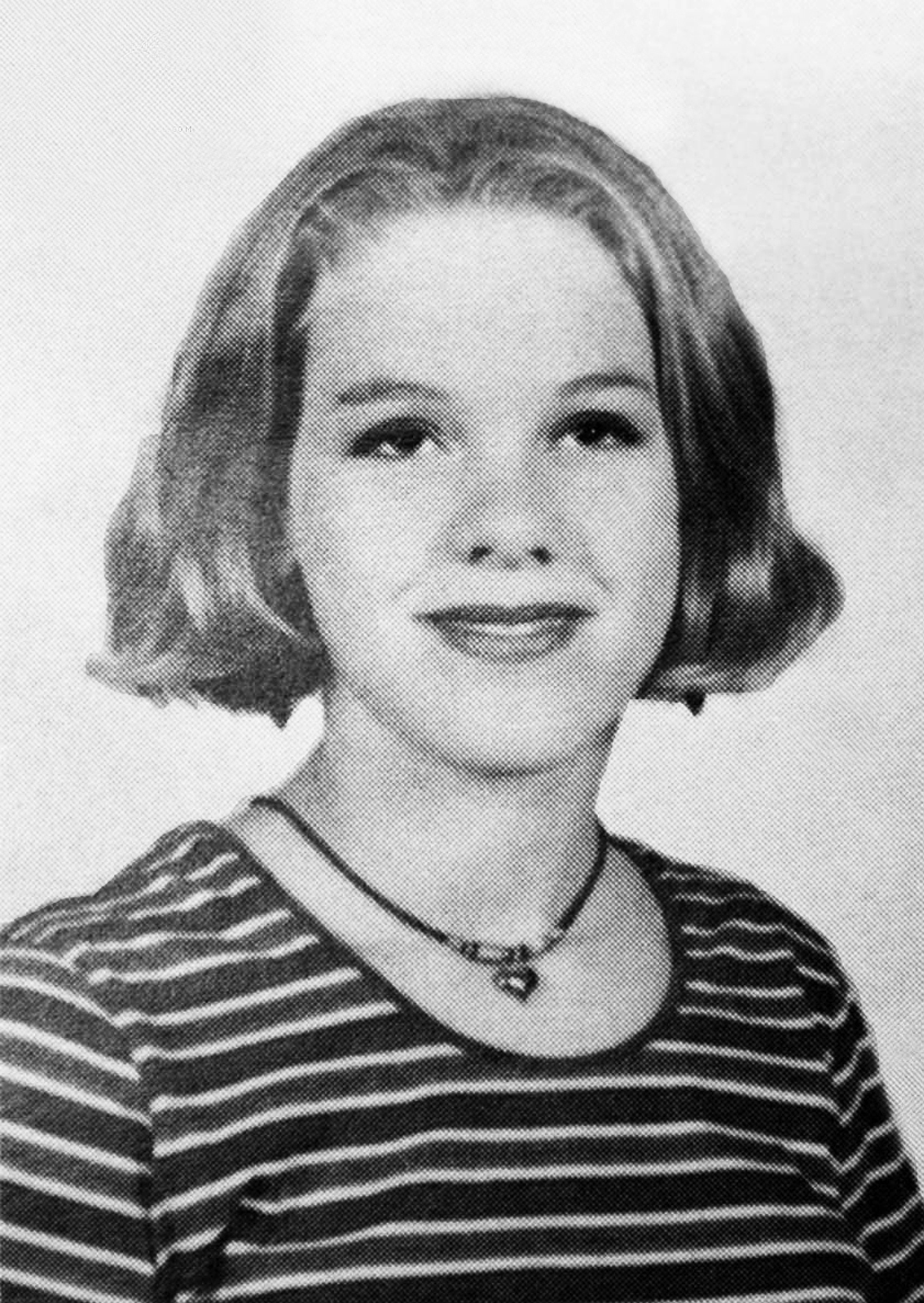 Pink poses for a yearbook photo during eighth grade at Lenape Middle School in Doylestown, Pennsylvania, in 1993.