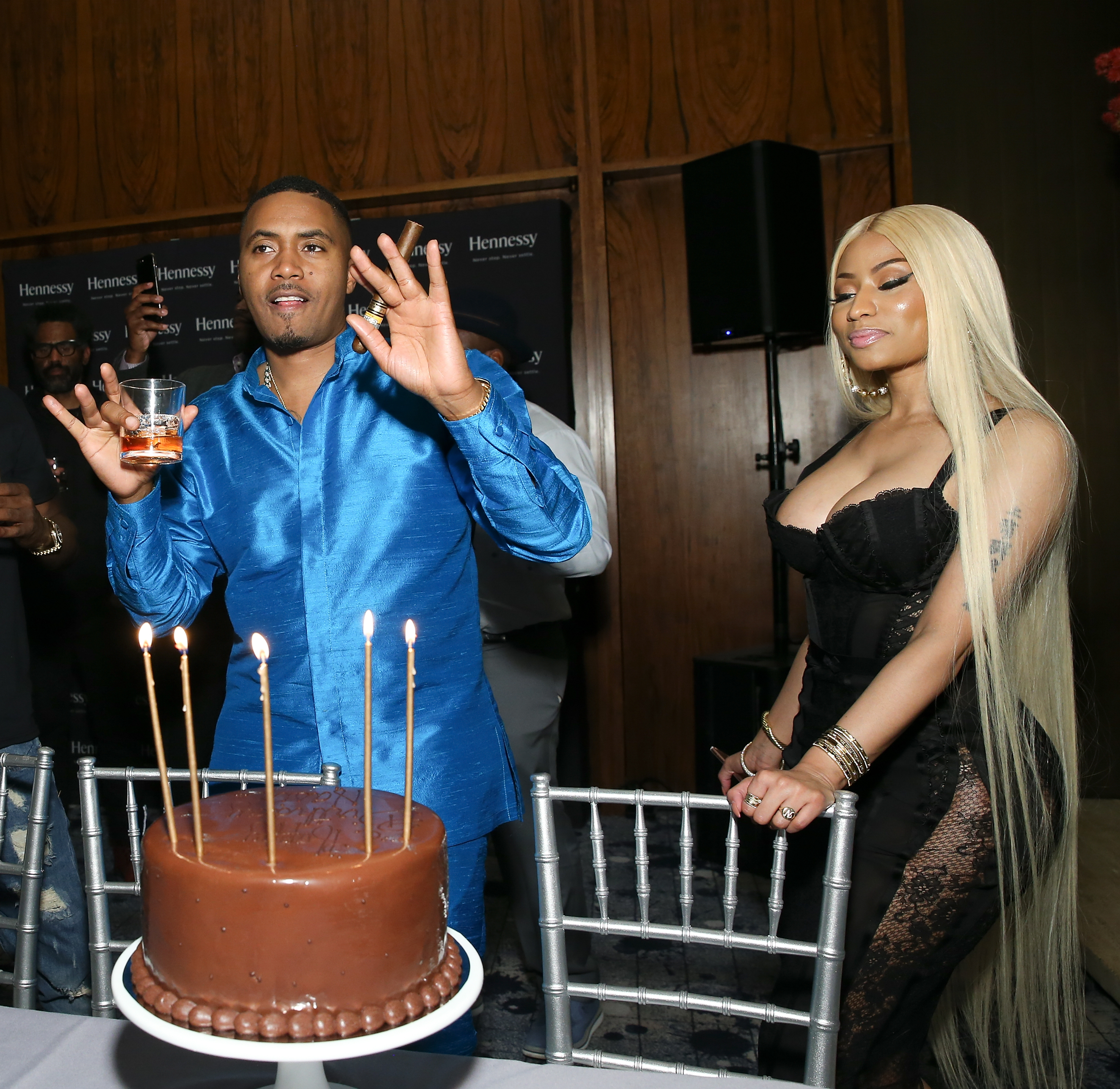Nas and Nicki Minaj attend his private birthday dinner at The Pool Lounge in New York City on Sept. 13, 2017.