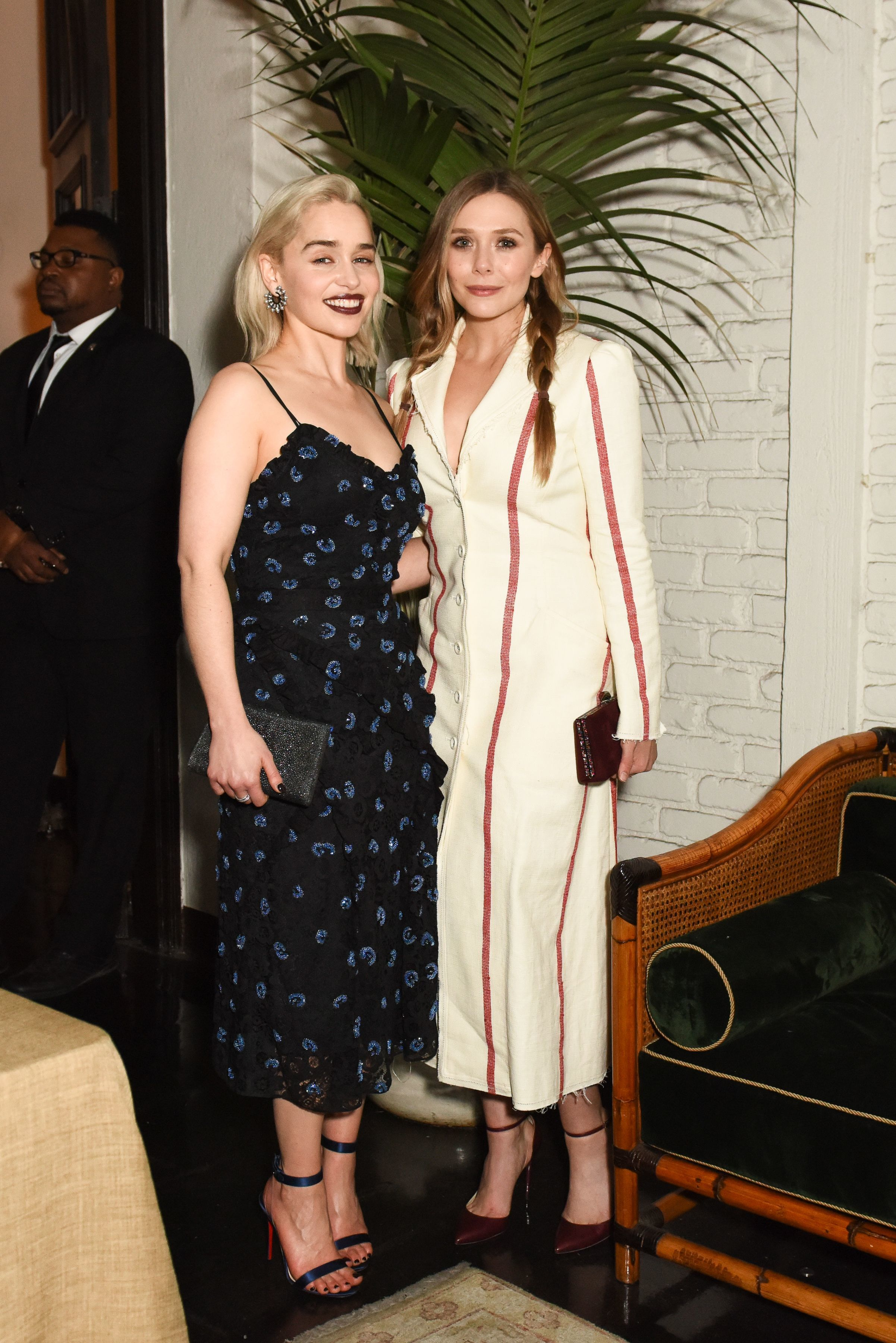 Emilia Clarke and Elizabeth Olsen attend the W Magazine Celebrates Its Best Performances Portfolio and the Golden Globes with Audi, Dior, and Dom Perignon in Los Angeles on Jan. 4, 2018.