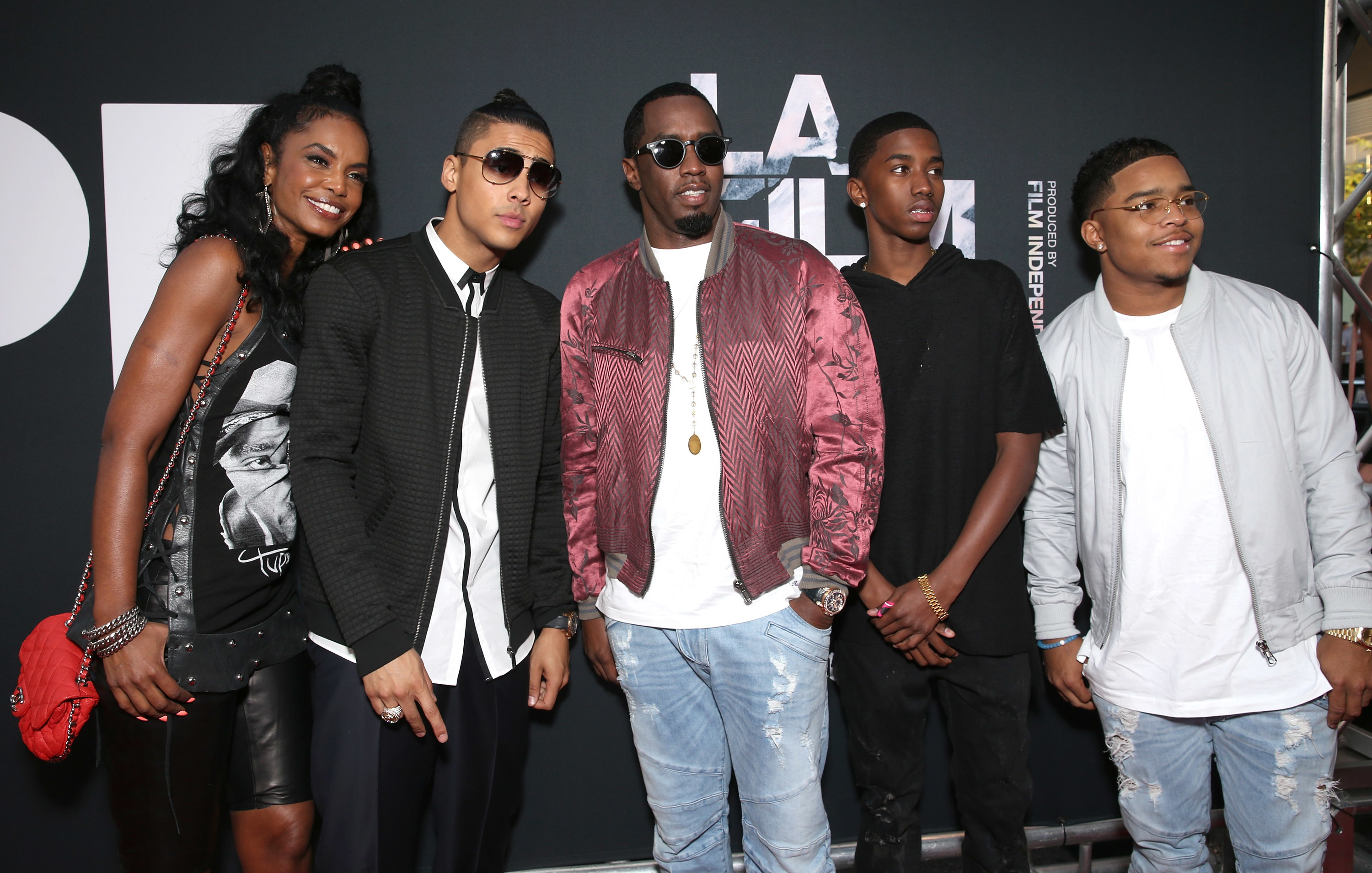 """Kim Porter, Quincy Brown, Sean Combs, Christian Combs and Justin Combs attend the Los Angeles Film Festival Premiere Of Open Road Films' """"Dope"""" at Regal Cinemas L.A. Live in Los Angeles on June 8, 2015.  (Photo by Todd Williamson/Getty Images)"""