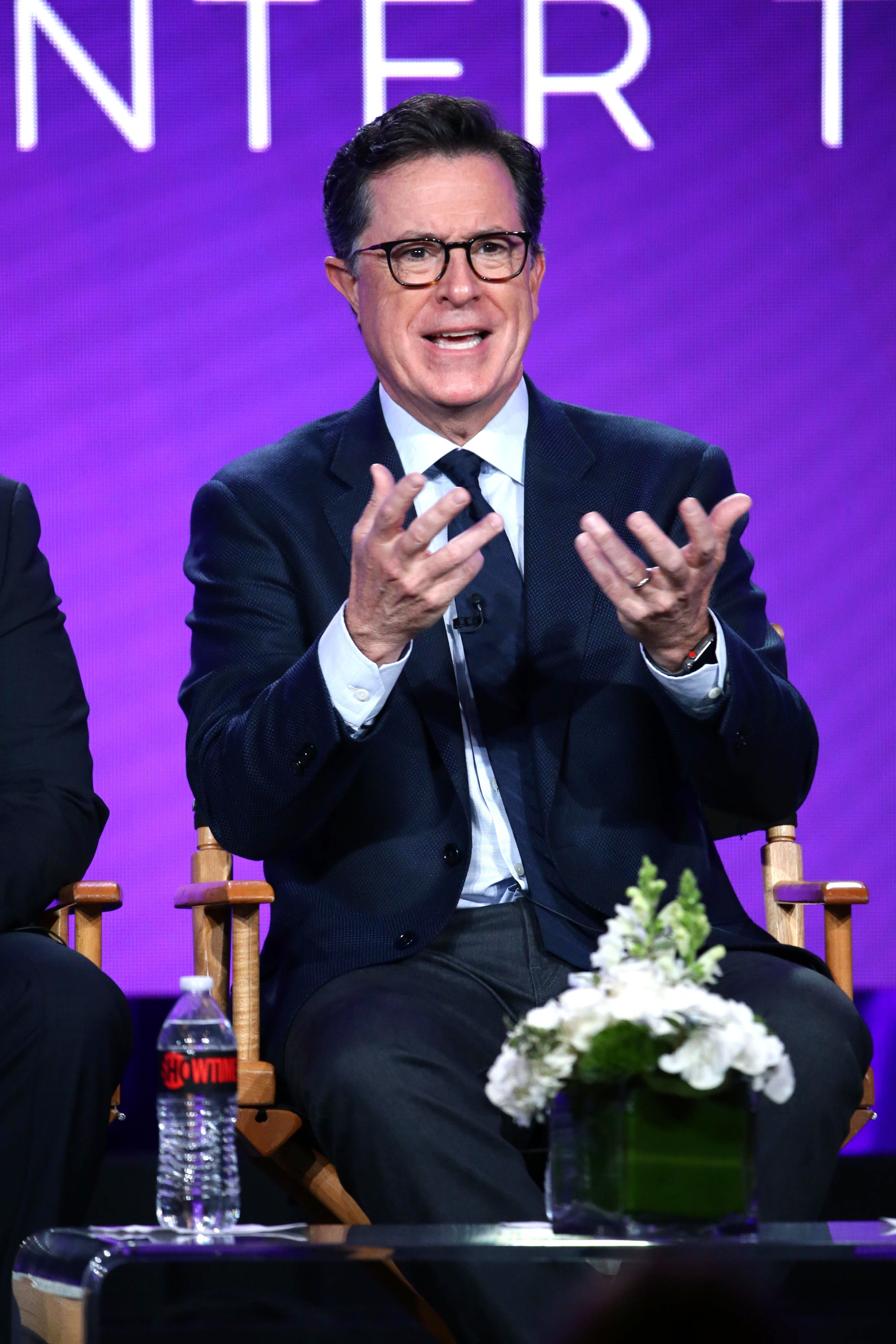 """Stephen Colbert speaks at the """"Our Cartoon President"""" Panel at Showtime TCA Winter Press Tour 2018 in Los Angeles on Jan. 6, 2018."""