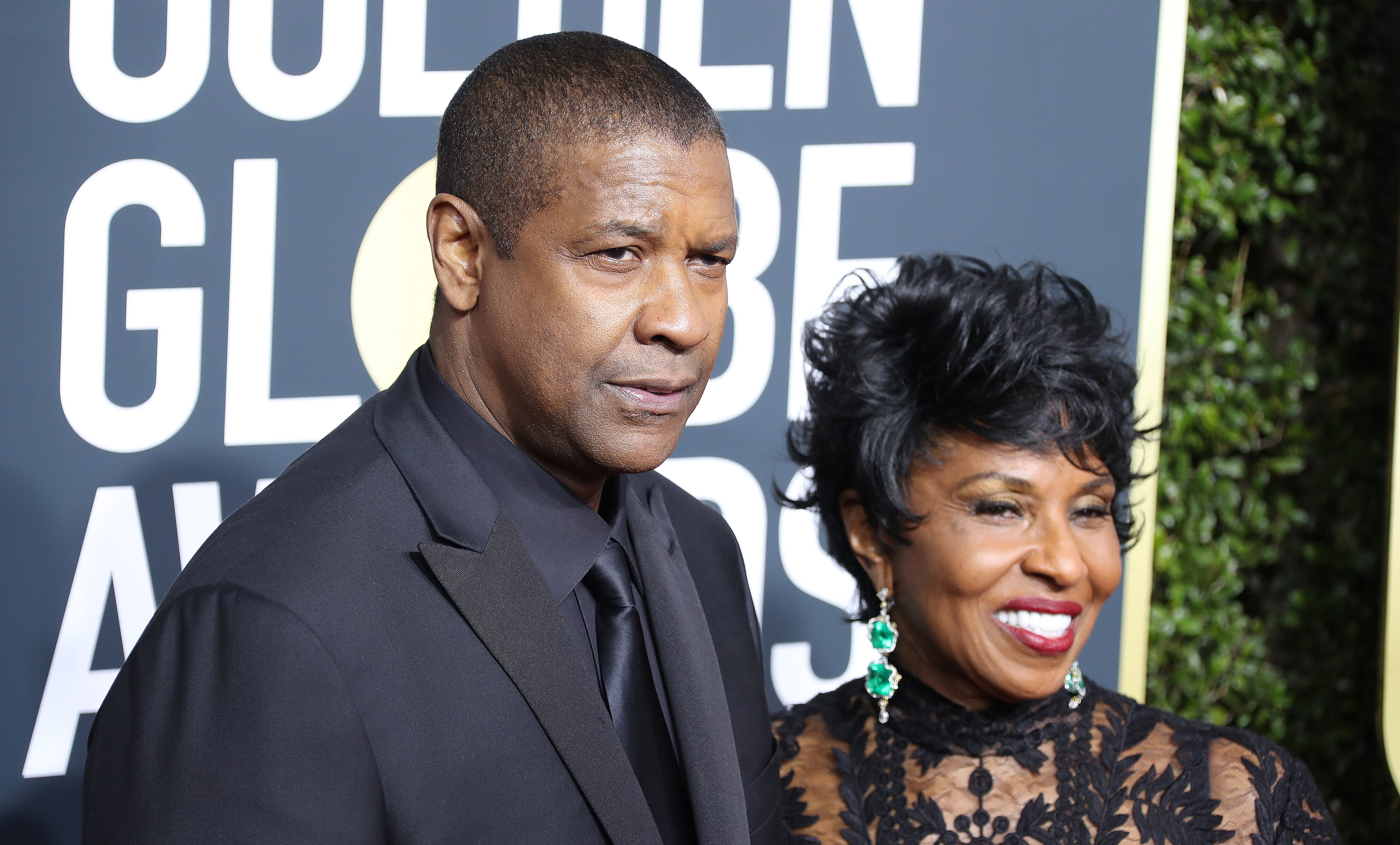 Denzel Washington and his wife, Pauletta Washington, attend the 75th Annual Golden Globe Awards in Beverly Hills on Jan. 7, 2018.