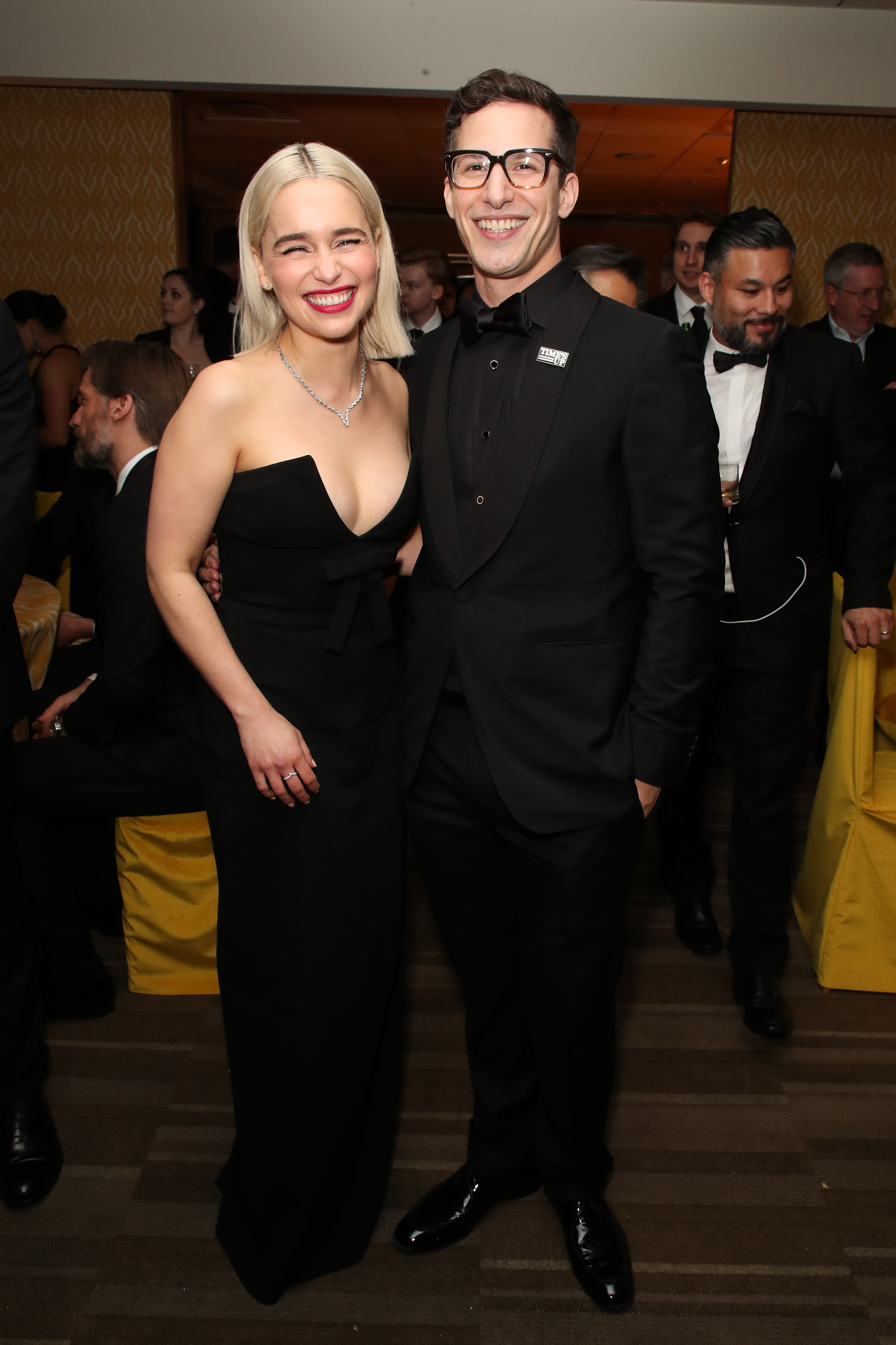 Emilia Clarke and Andy Samberg hang out during HBO's Golden Globes afterparty in Beverly Hills on Jan. 7, 2018.